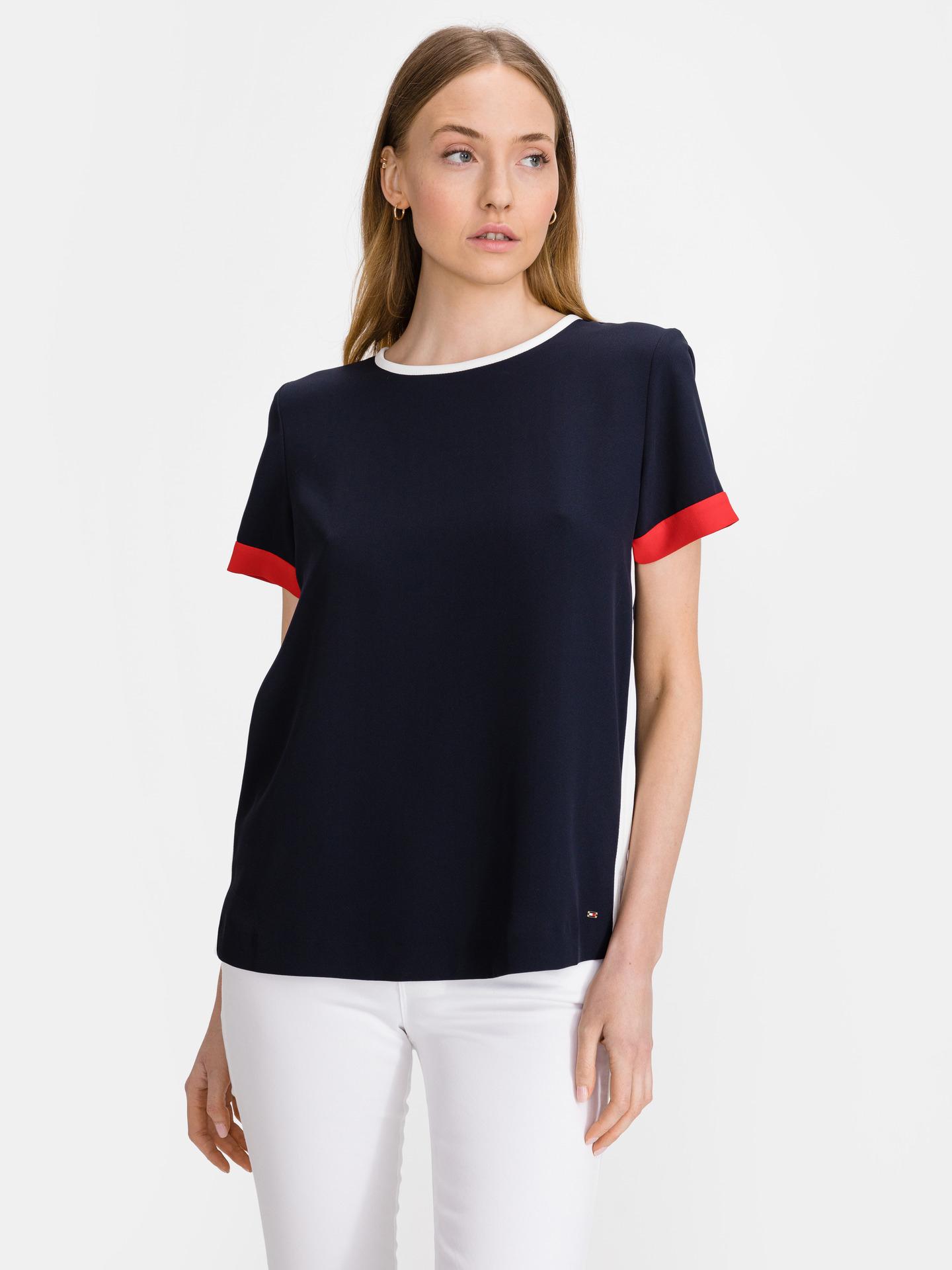 Tommy Hilfiger modré dámské tričko Crepe Tipped