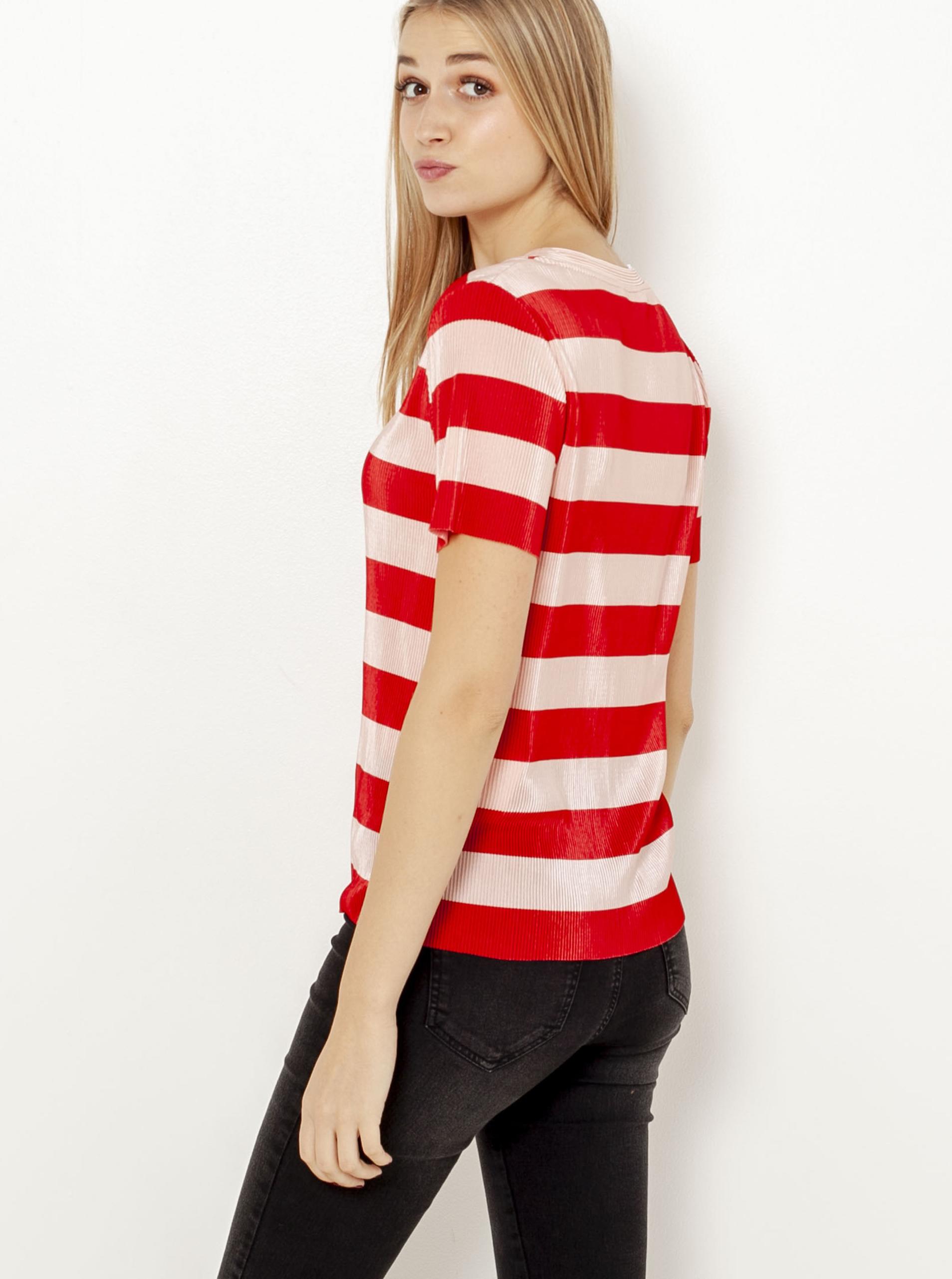 Krémovo-červené pruhované tričko CAMAIEU