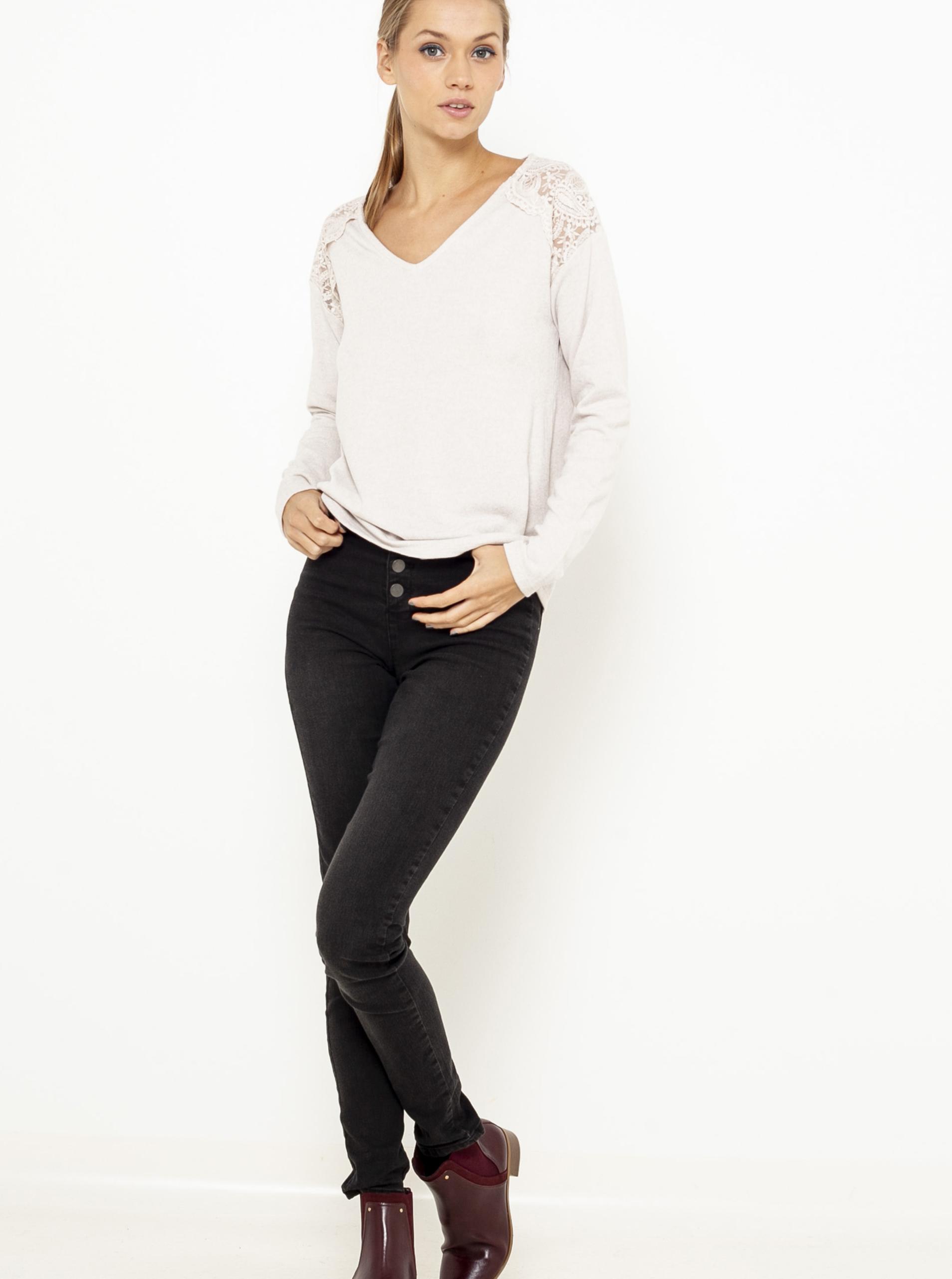 CAMAIEU smetanové/krémové dámské tričko s krajkou