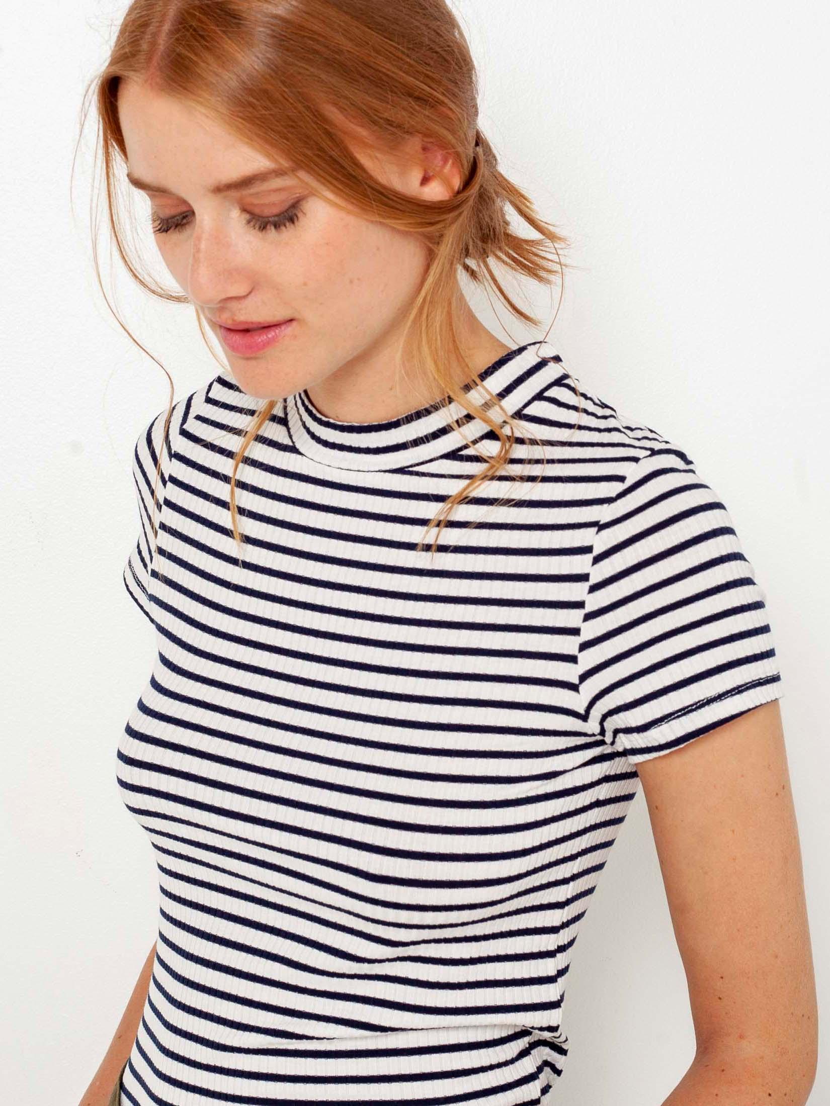 Modro-bílé pruhované tričko CAMAIEU