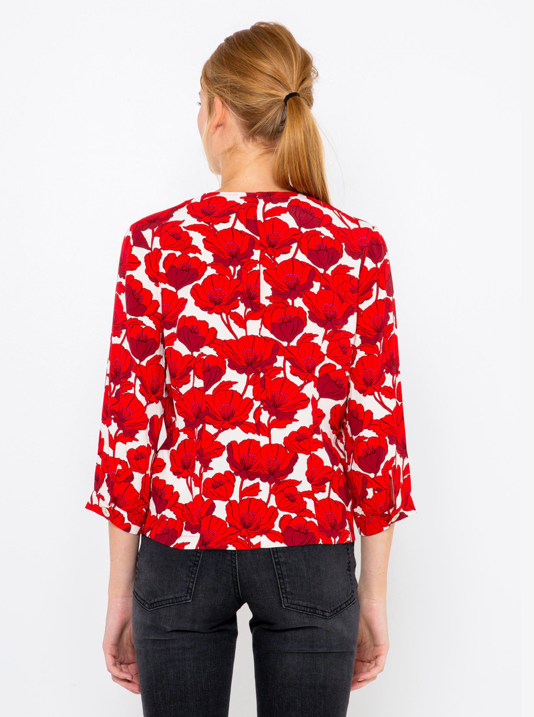CAMAIEU červené halenka s květinovým motivem