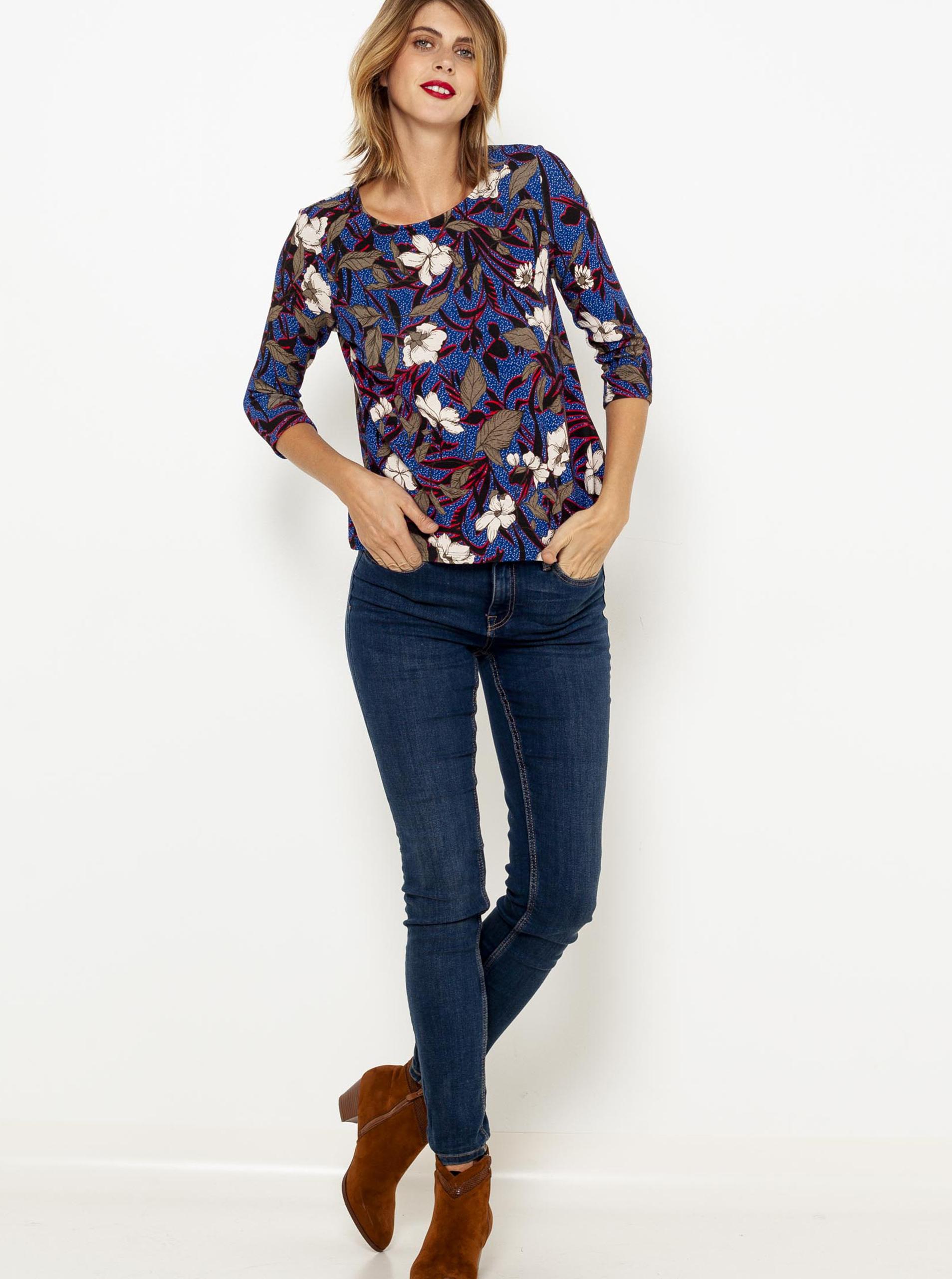 Modré květované tričko s tříčtvrtečním rukávem CAMAIEU