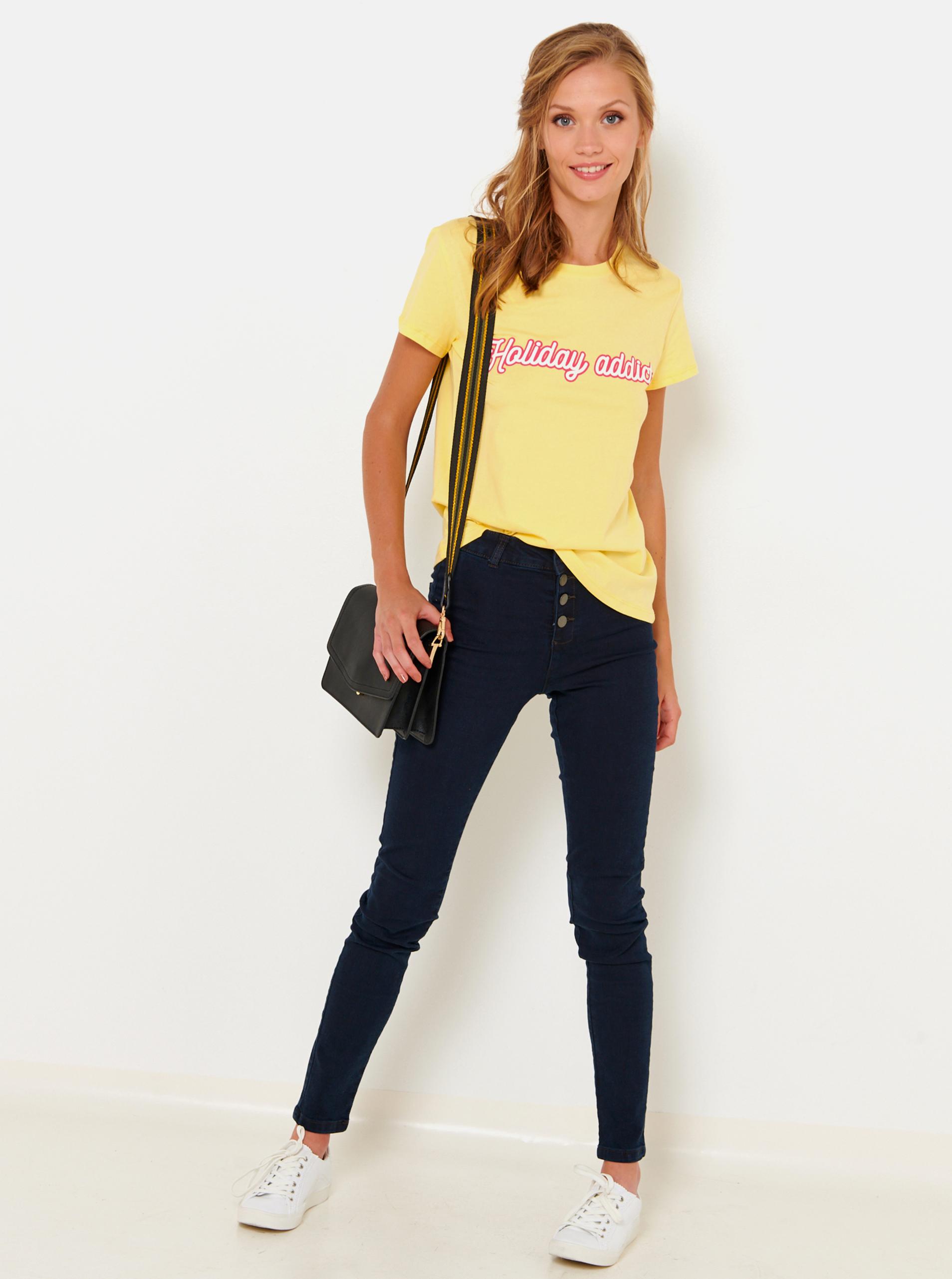 CAMAIEU žluté tričko s nápisem