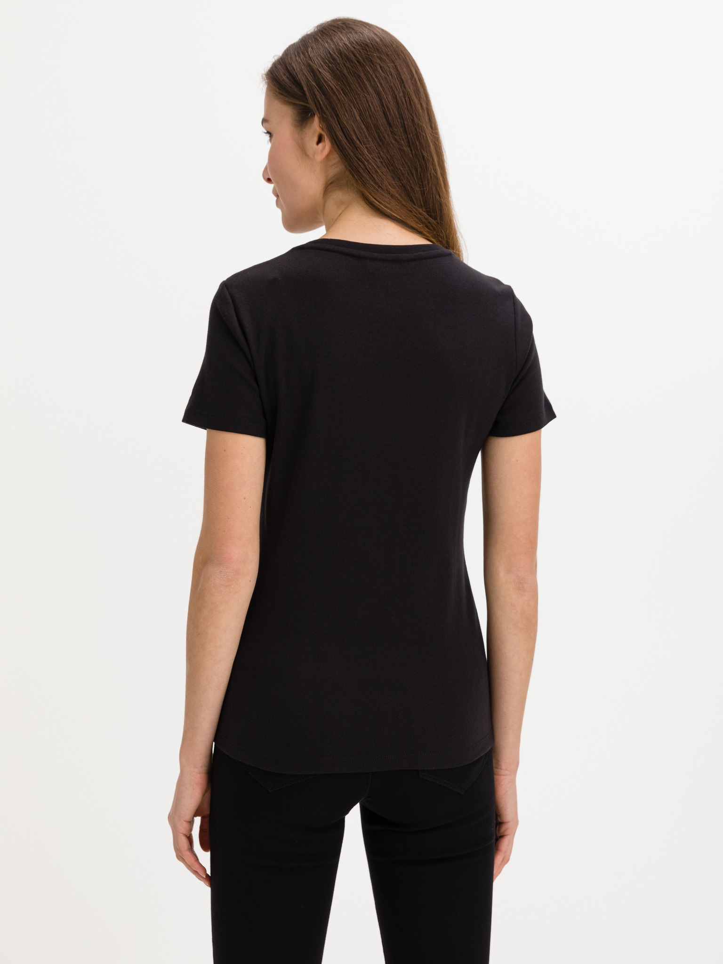 Tommy Hilfiger černé dámské tričko Slim Round