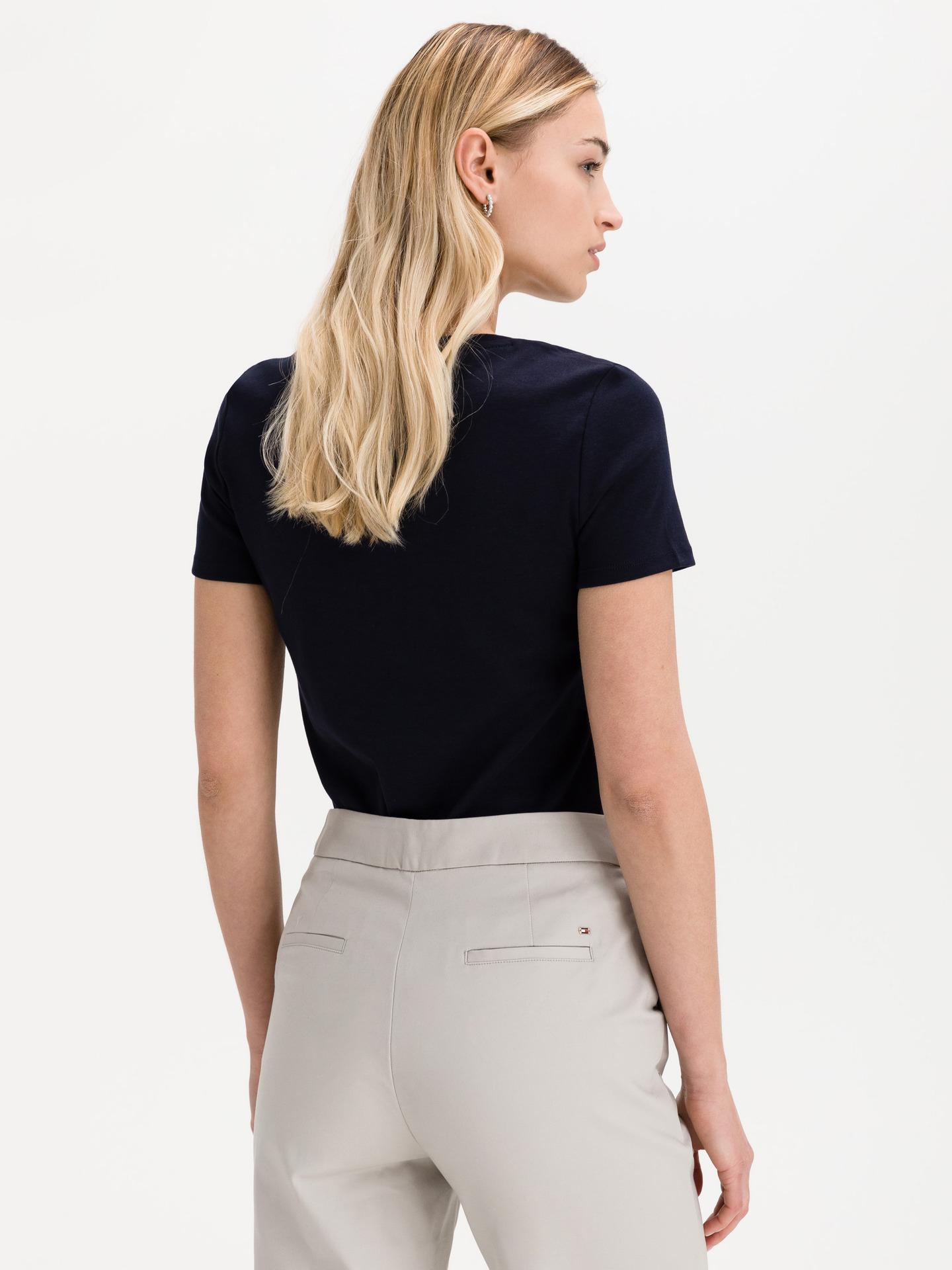Tommy Hilfiger modré dámské tričko Slim Round