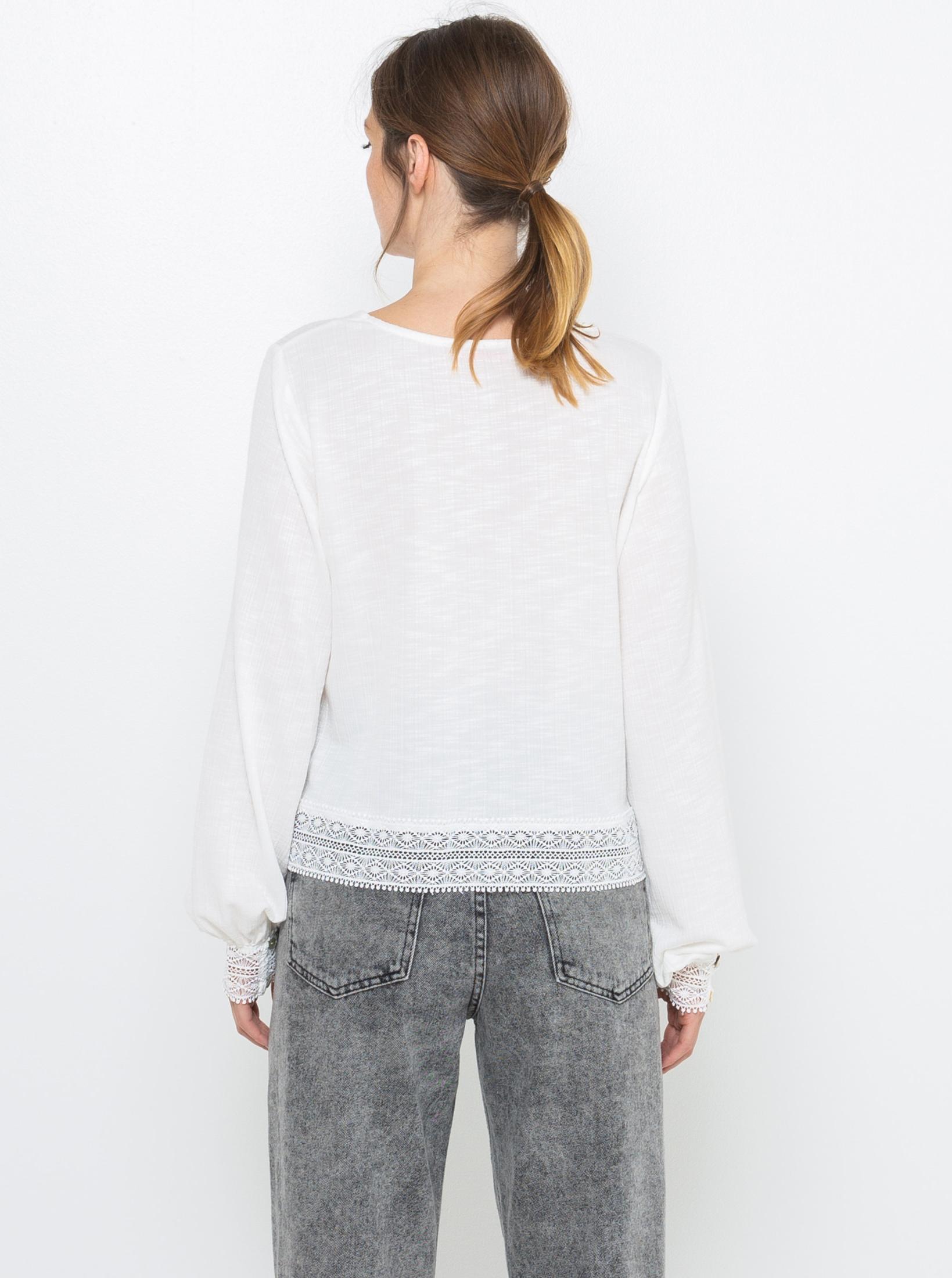 Bílé tričko s ozdobnými lemy CAMAIEU