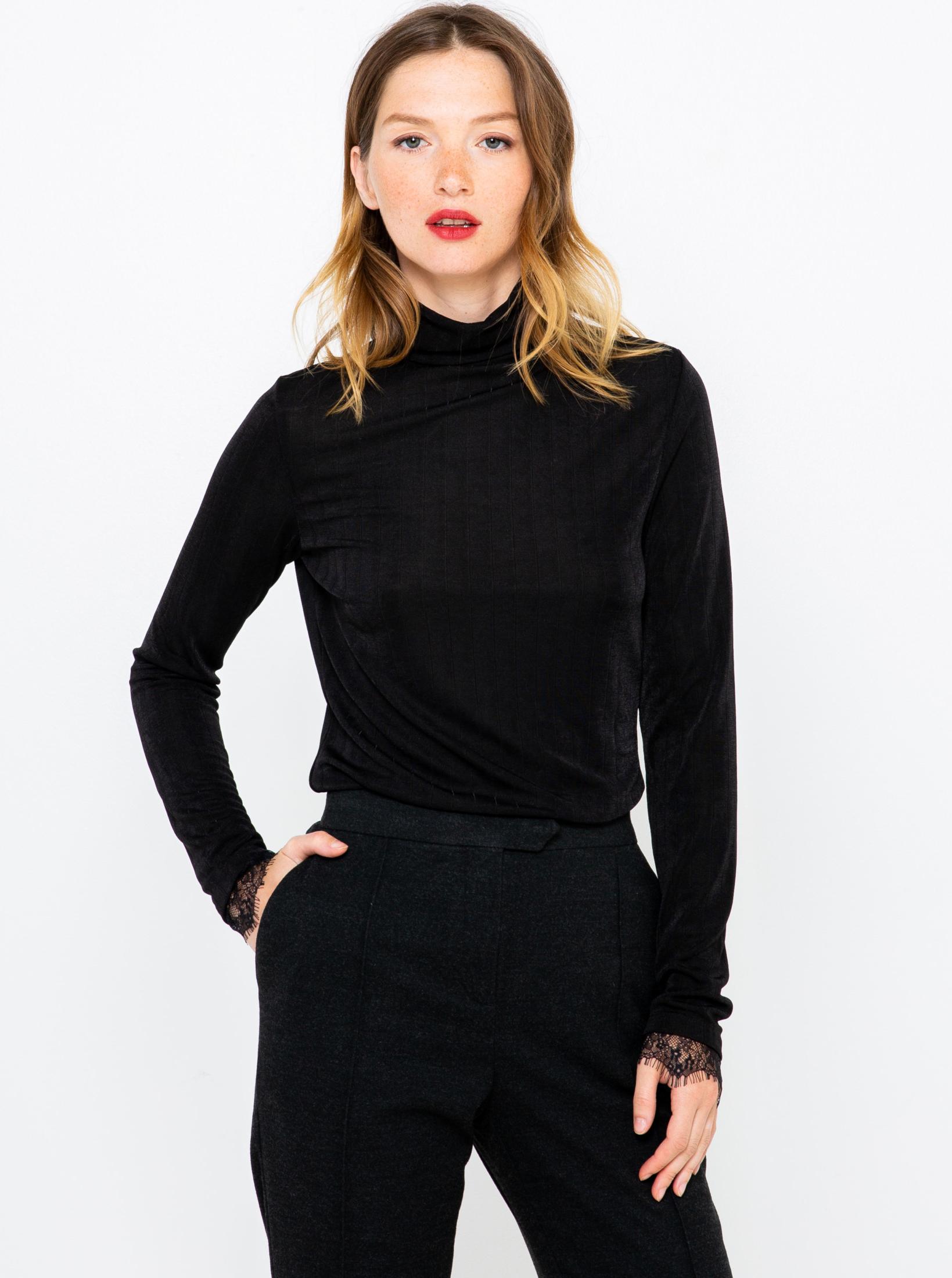 Černé tričko s krajkou CAMAIEU
