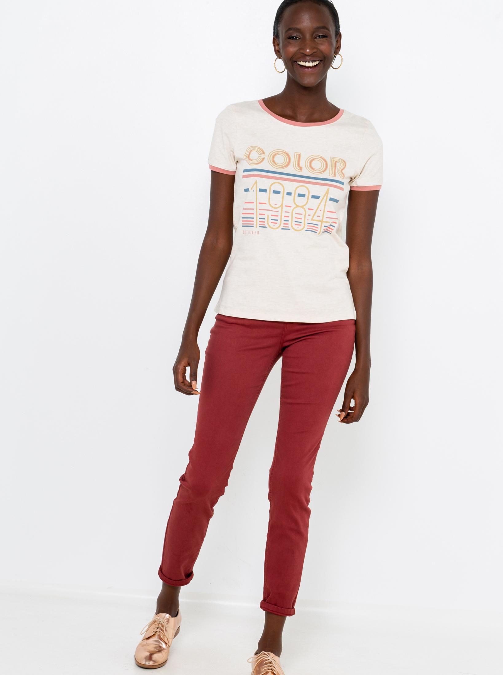 CAMAIEU smetanové/krémové tričko s nápisem
