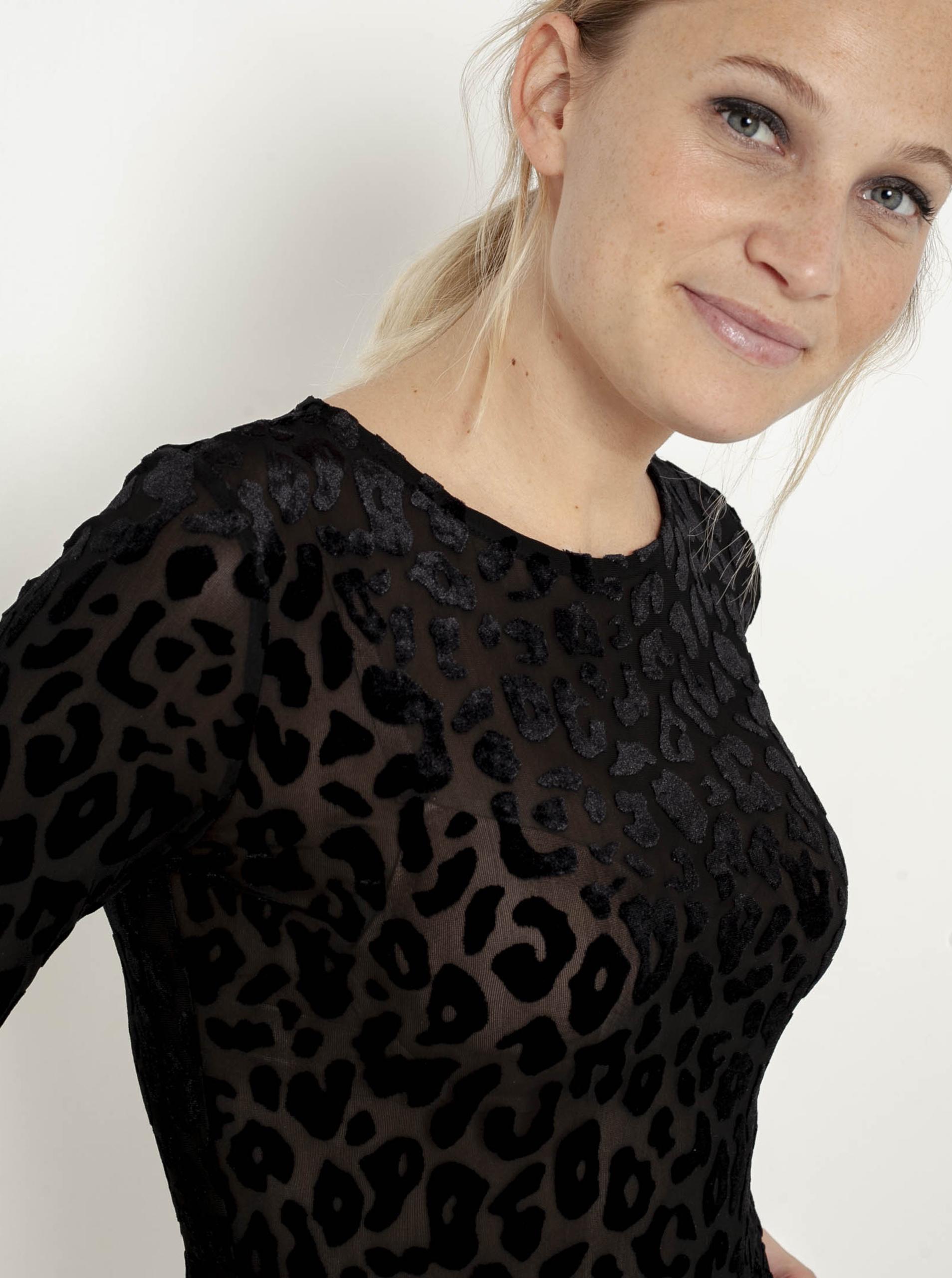 Černé tričko s leopardím vzorem CAMAIEU