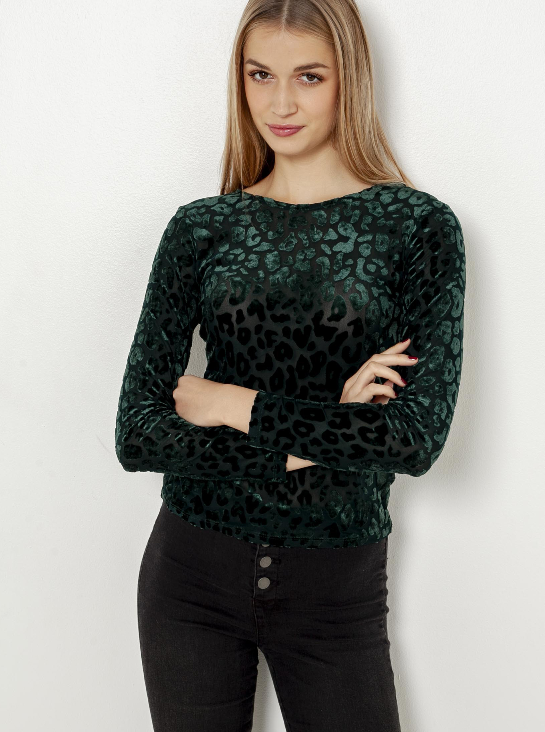 Tmavě zelené tričko s leopardím vzorem CAMAIEU
