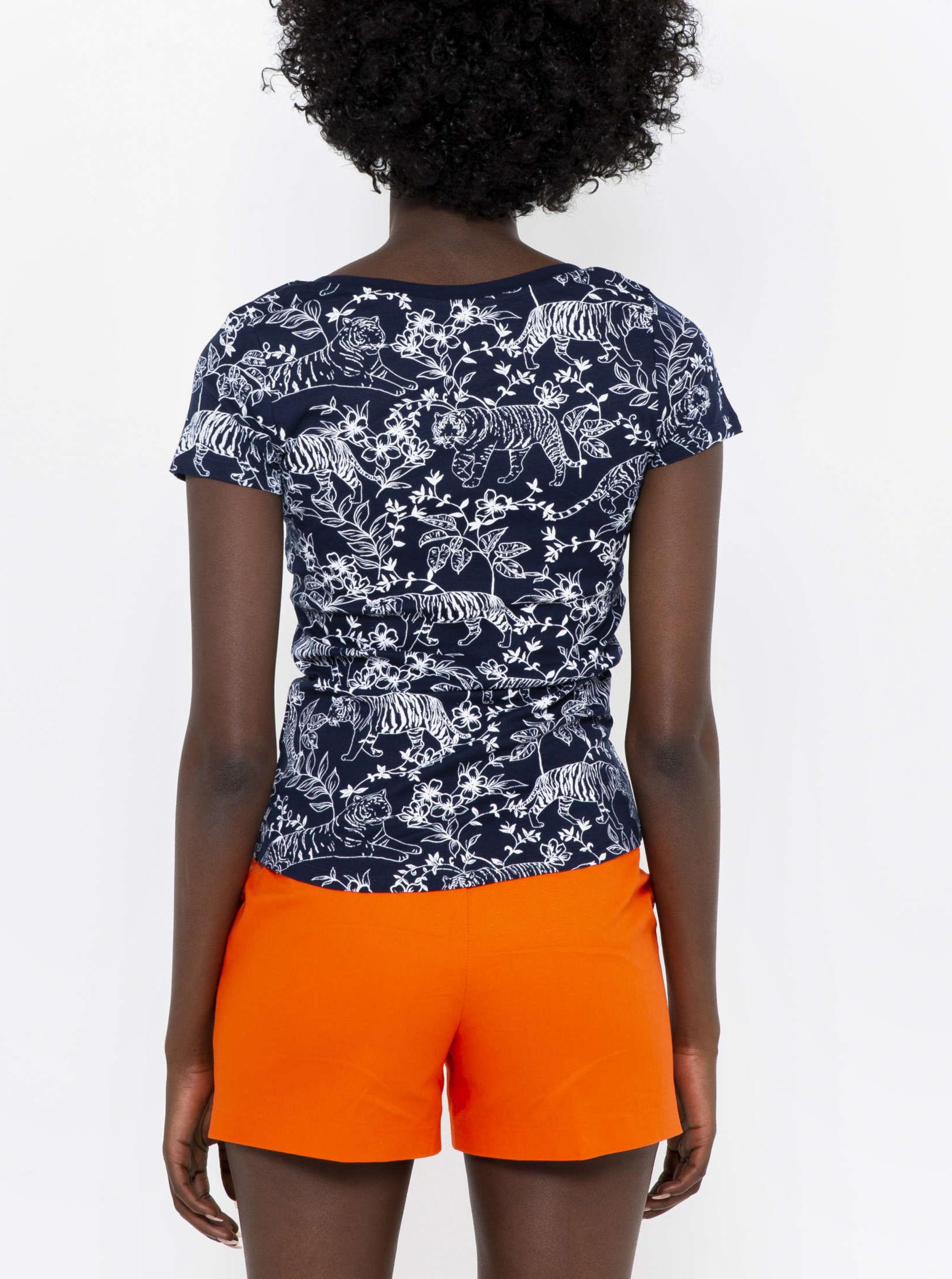 Bílo-černé květované tričko CAMAIEU