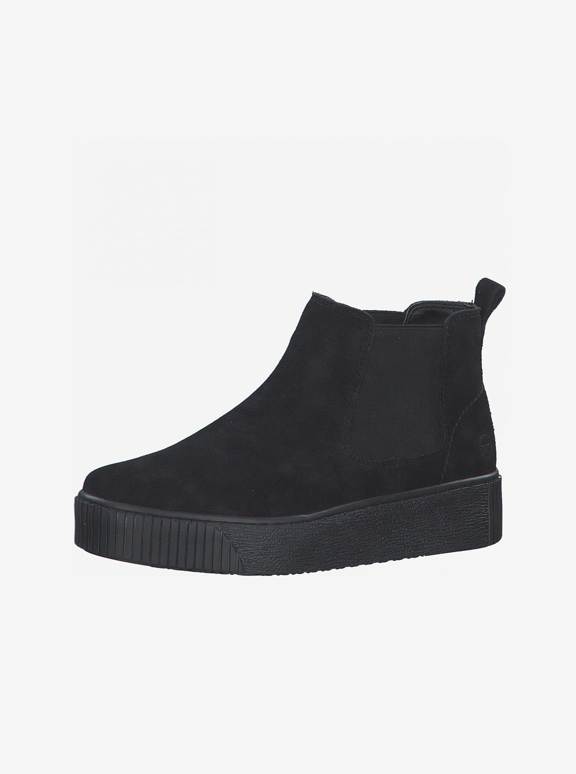 Tamaris černé semišové chelsea boty na platformě - 41