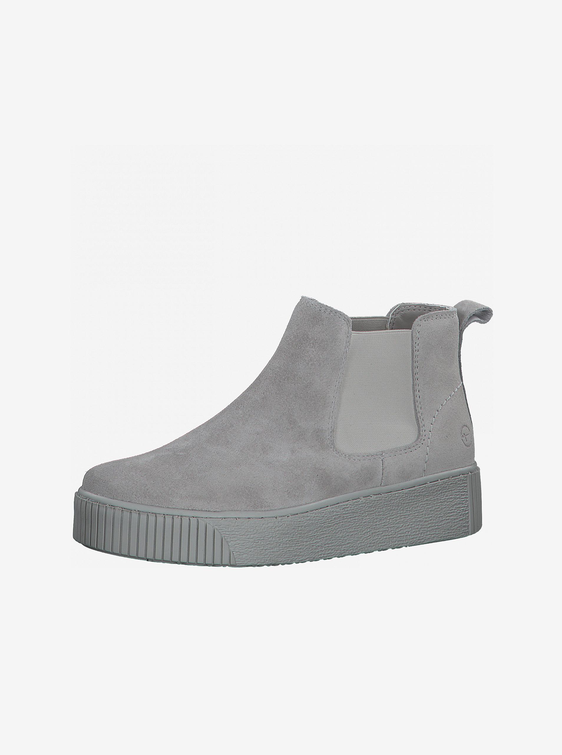 Tamaris šedé semišové chelsea boty na platformě - 41
