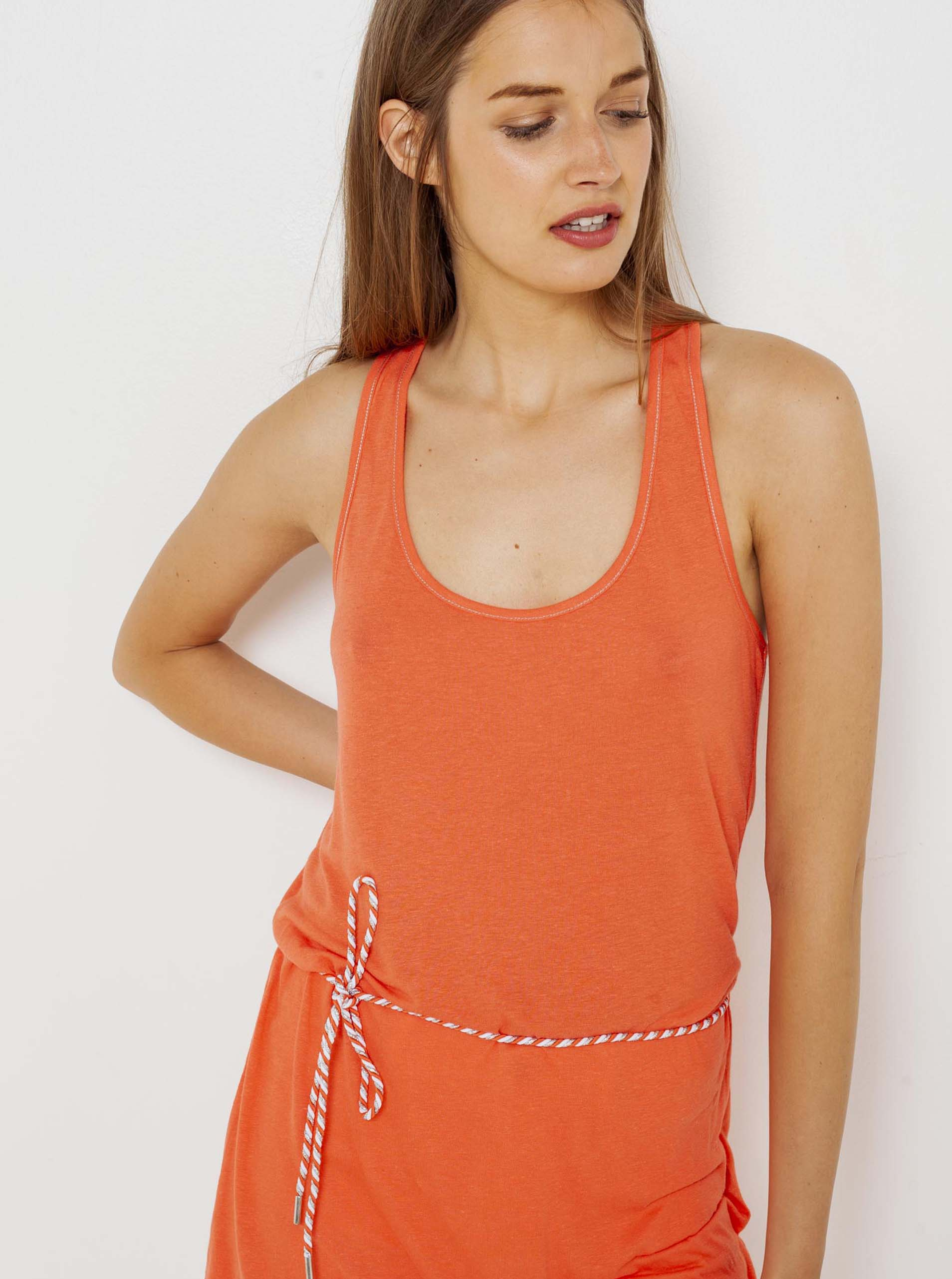 Oranžové dlouhé tílko s příměsí lnu CAMAIEU