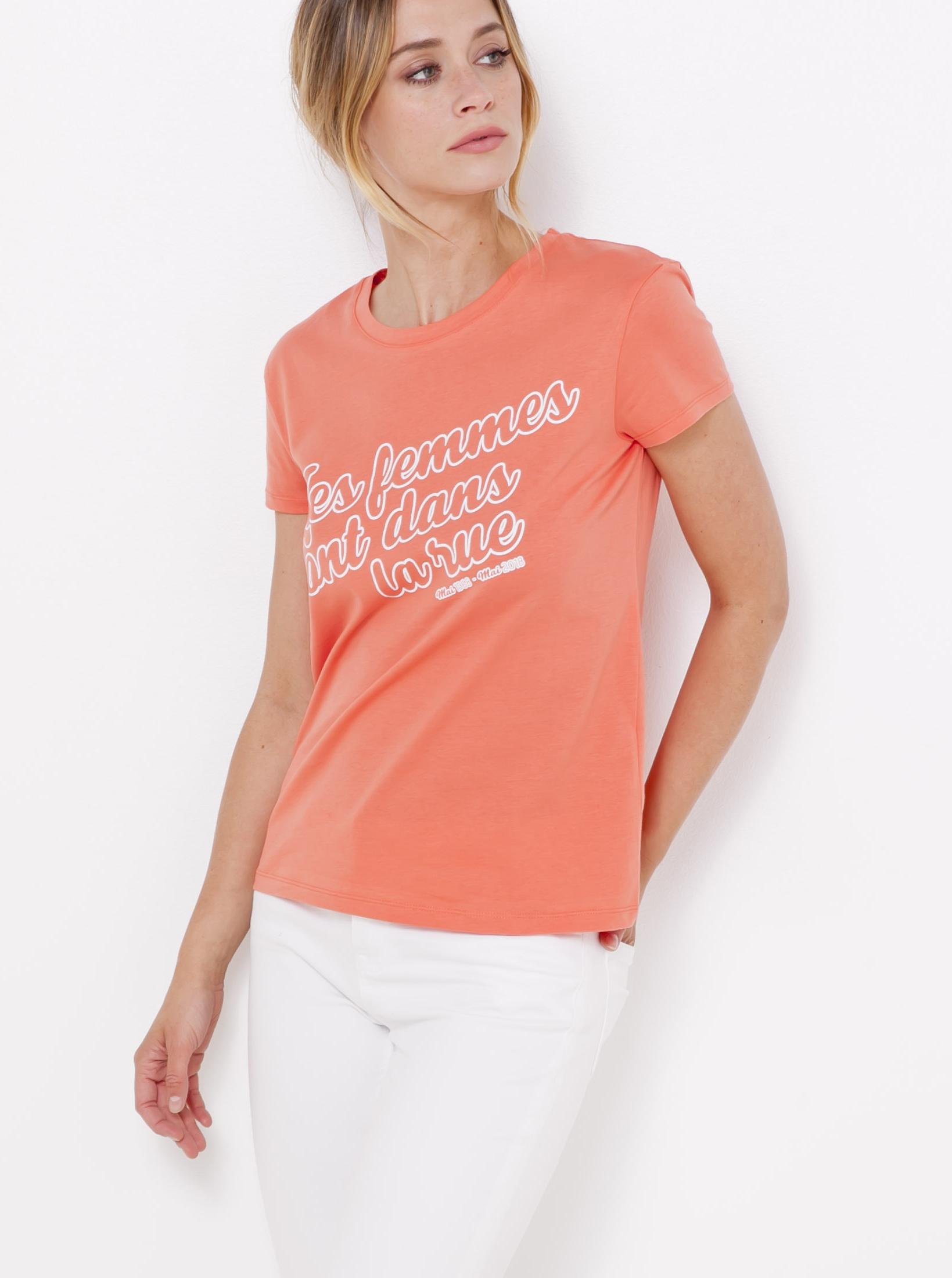 Meruňkové tričko s potiskem CAMAIEU