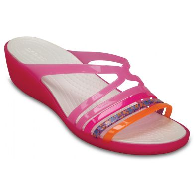 Crocs růžové pantofle na klínku Isabella Mini Wedge W Party pink/Candy pink