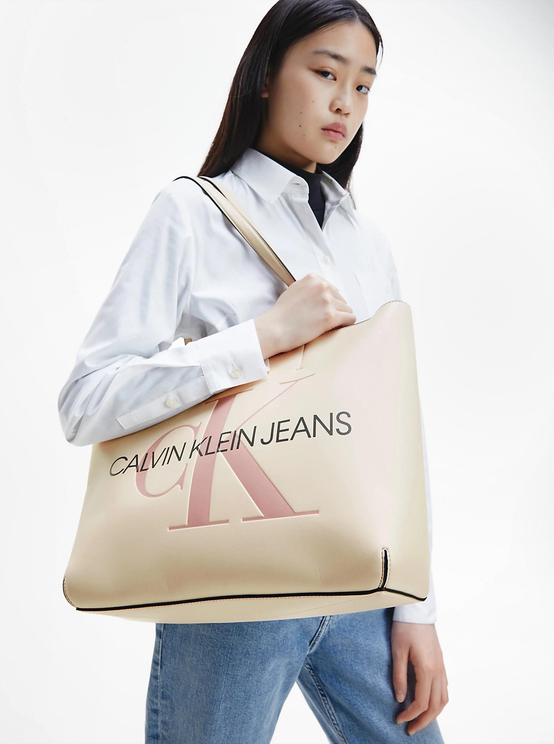 Calvin Klein smetanový shopper
