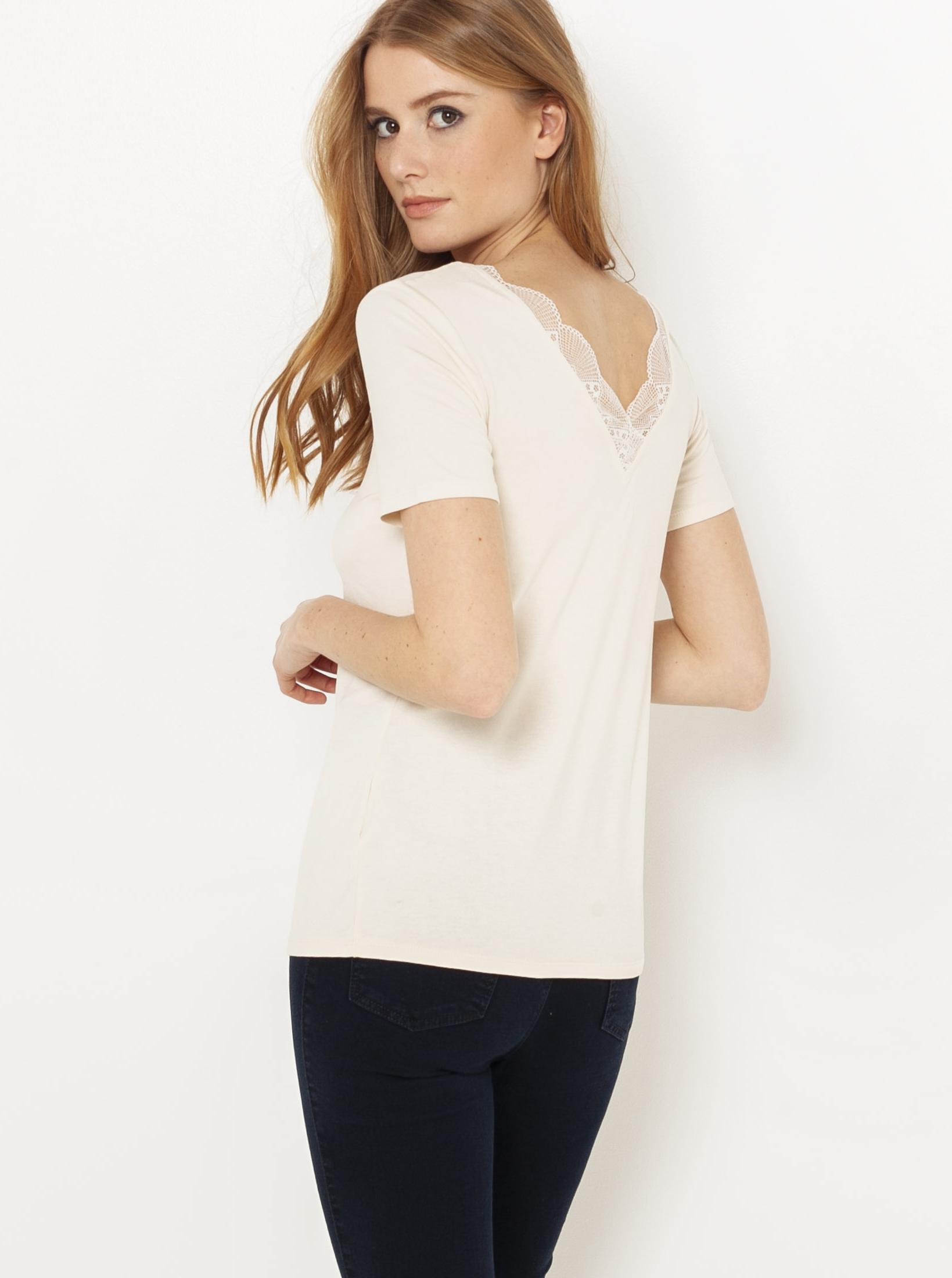 Krémové tričko s krajkovou vsadkou CAMAIEU