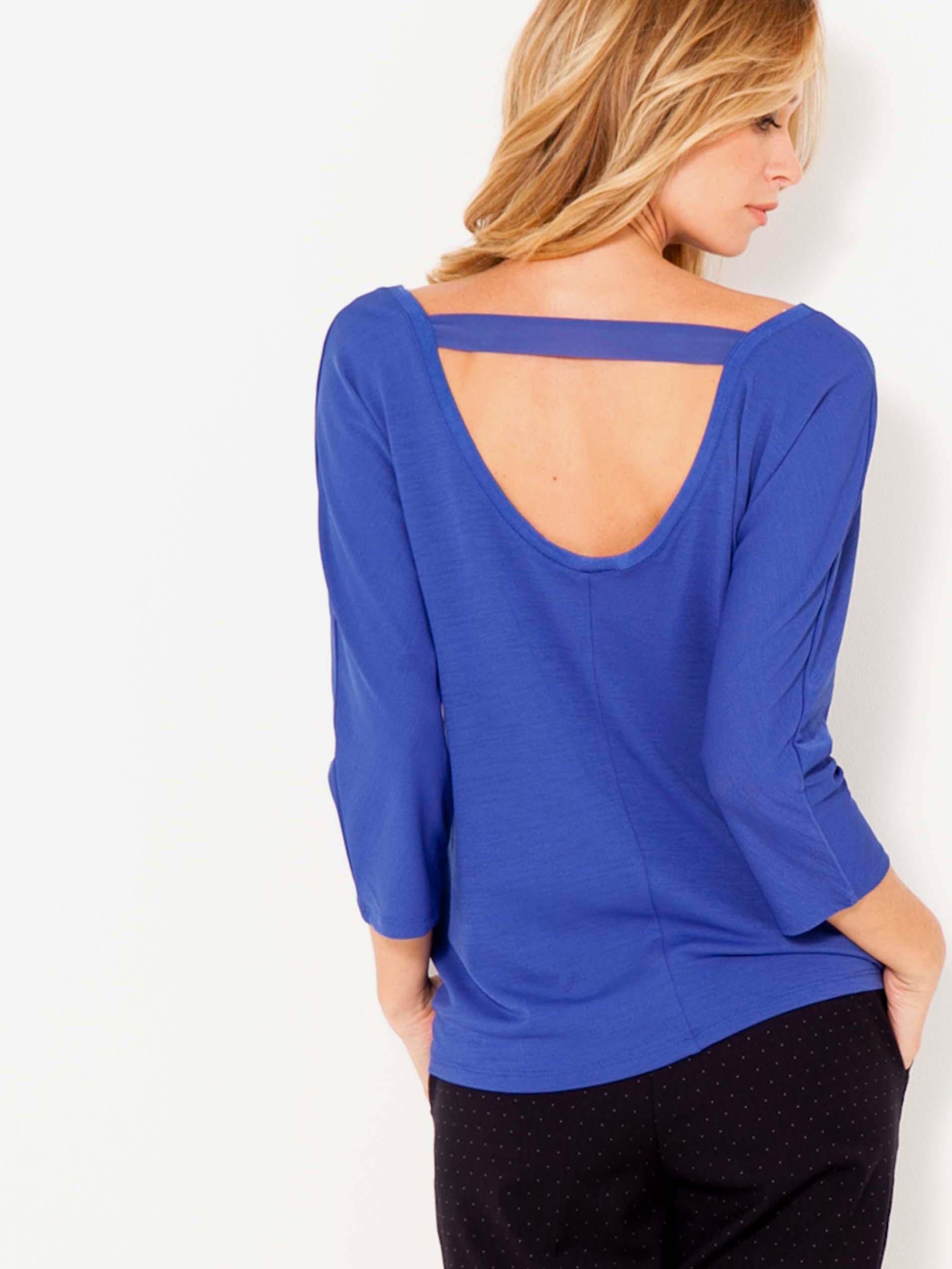 Modré tričko s tříčtvrtečním rukávem CAMAIEU