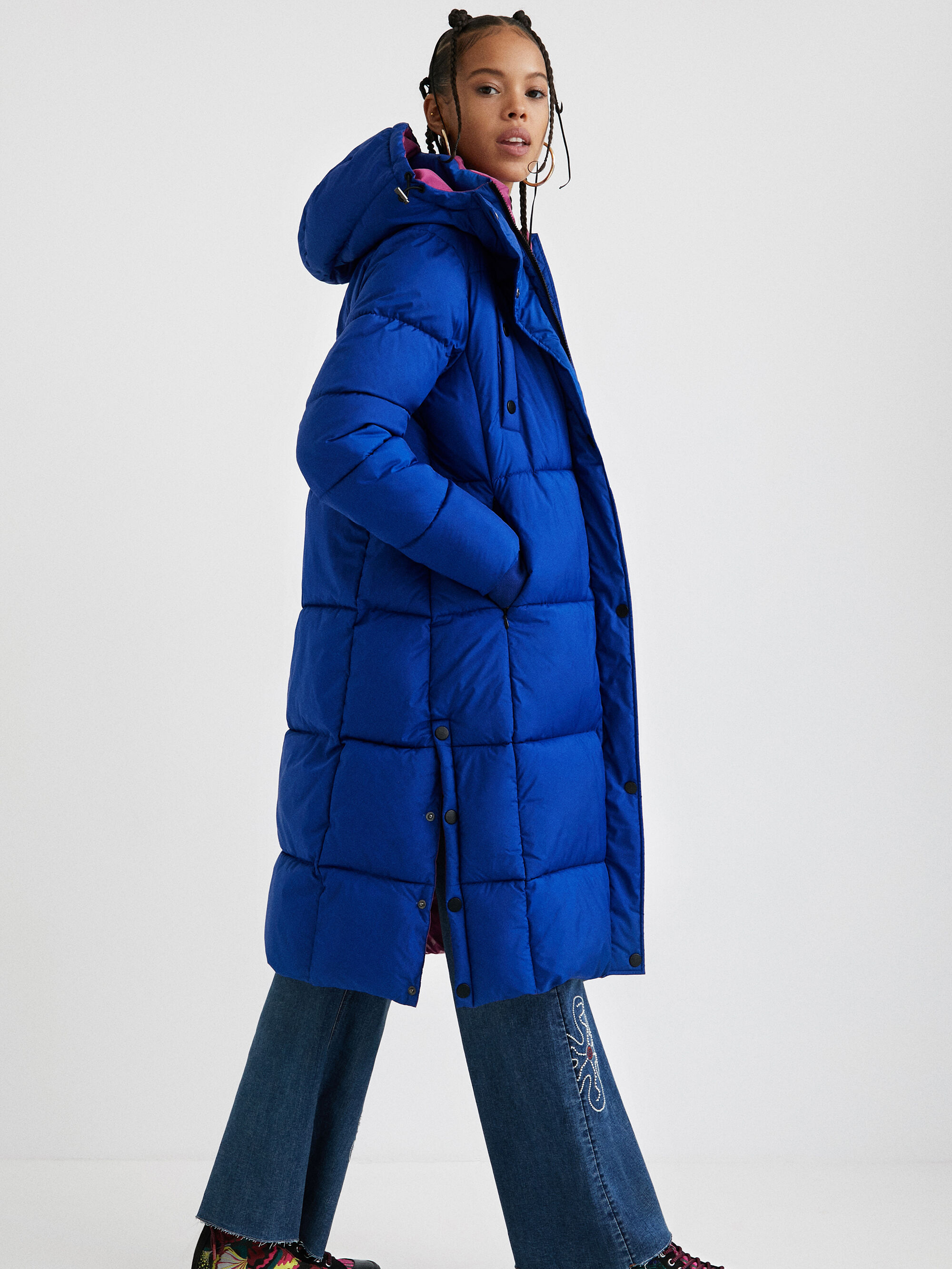 Modrý dámský prošívaný zimní kabát Desigual Corea - S