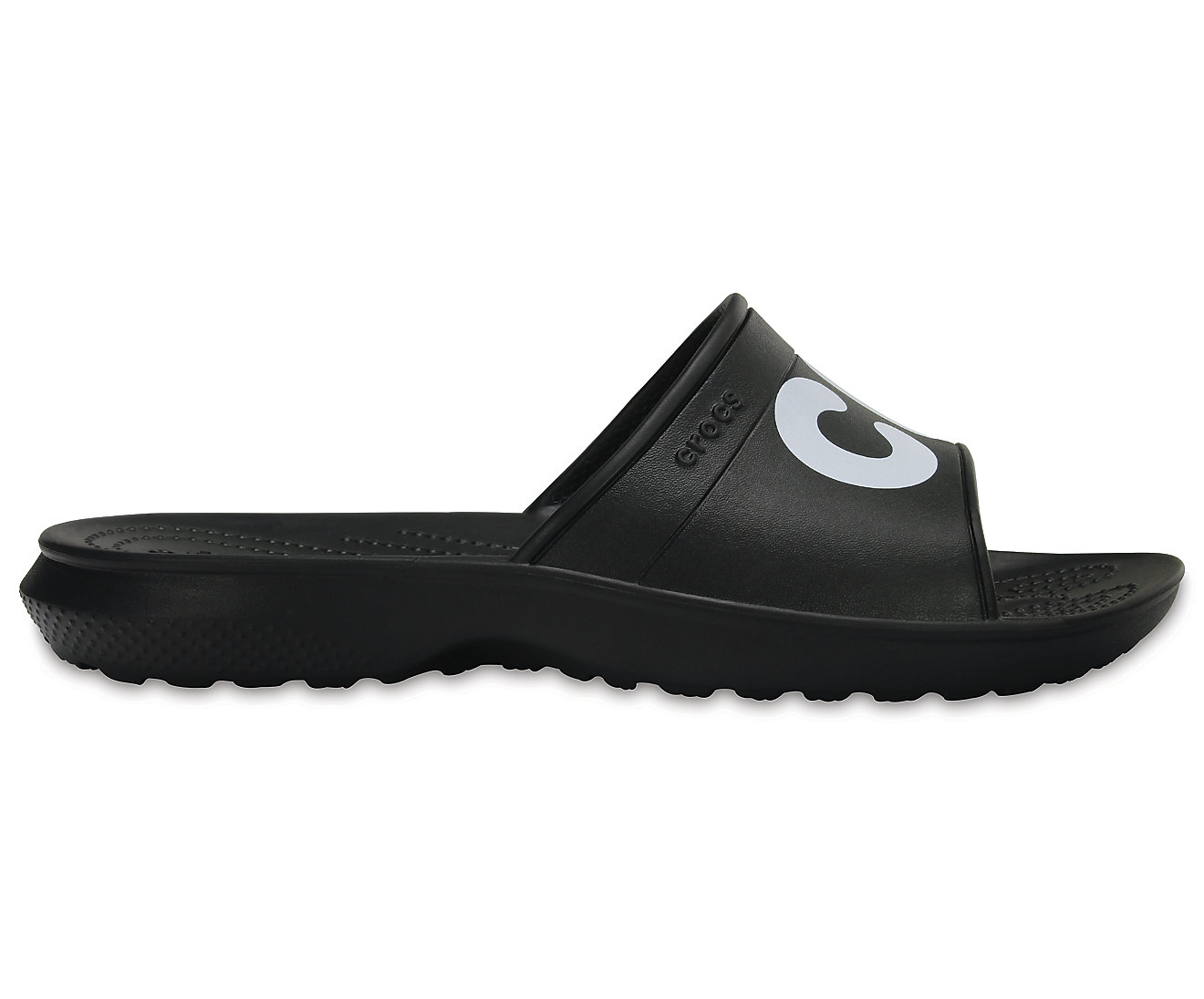 Crocs černé pantofle Classic Graphic Slide Black/White