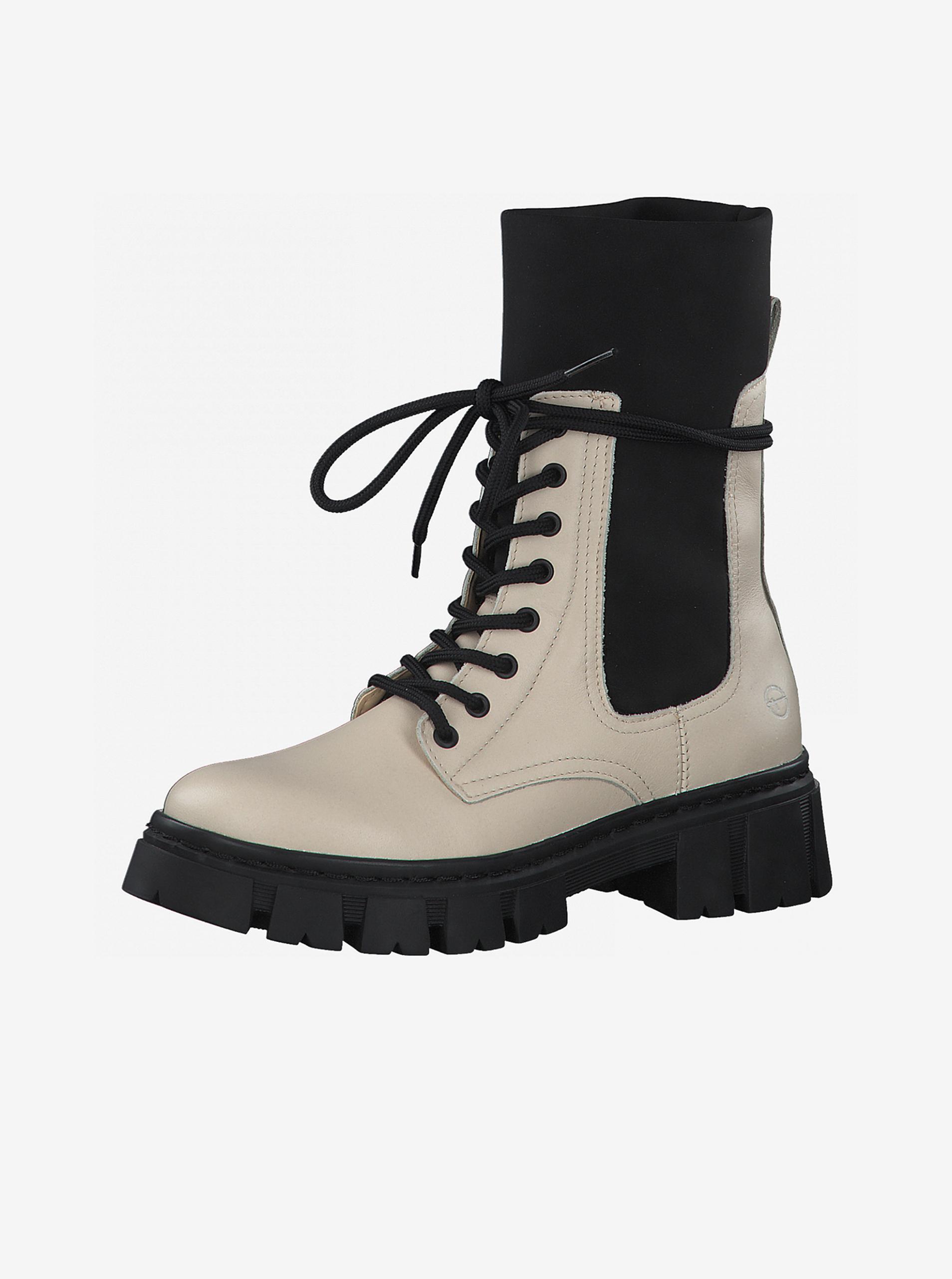Krémové kožené kotníkové boty na platformě Tamaris - 37
