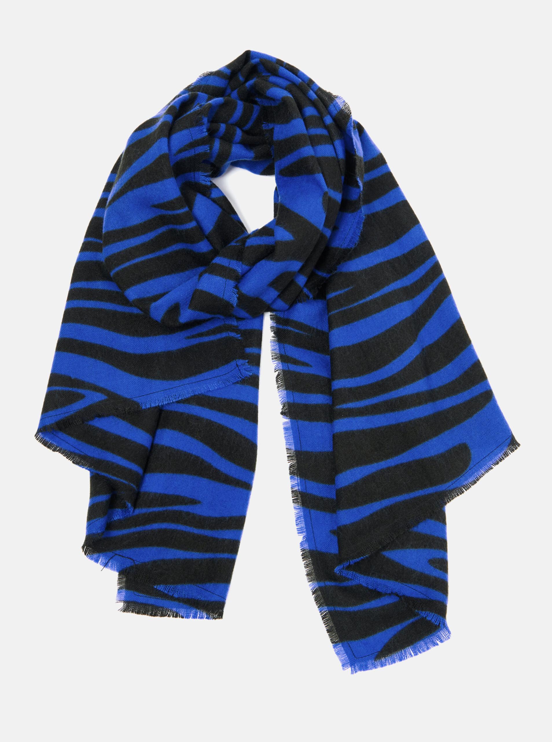 Černo-modrá vzorovaná šála CAMAIEU