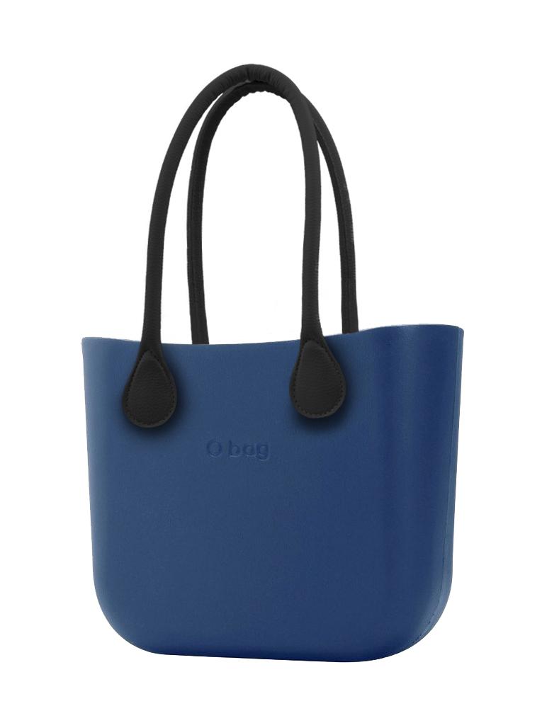 O bag  modrá kabelka MINI Bluette s černými dlouhými koženkovými držadly