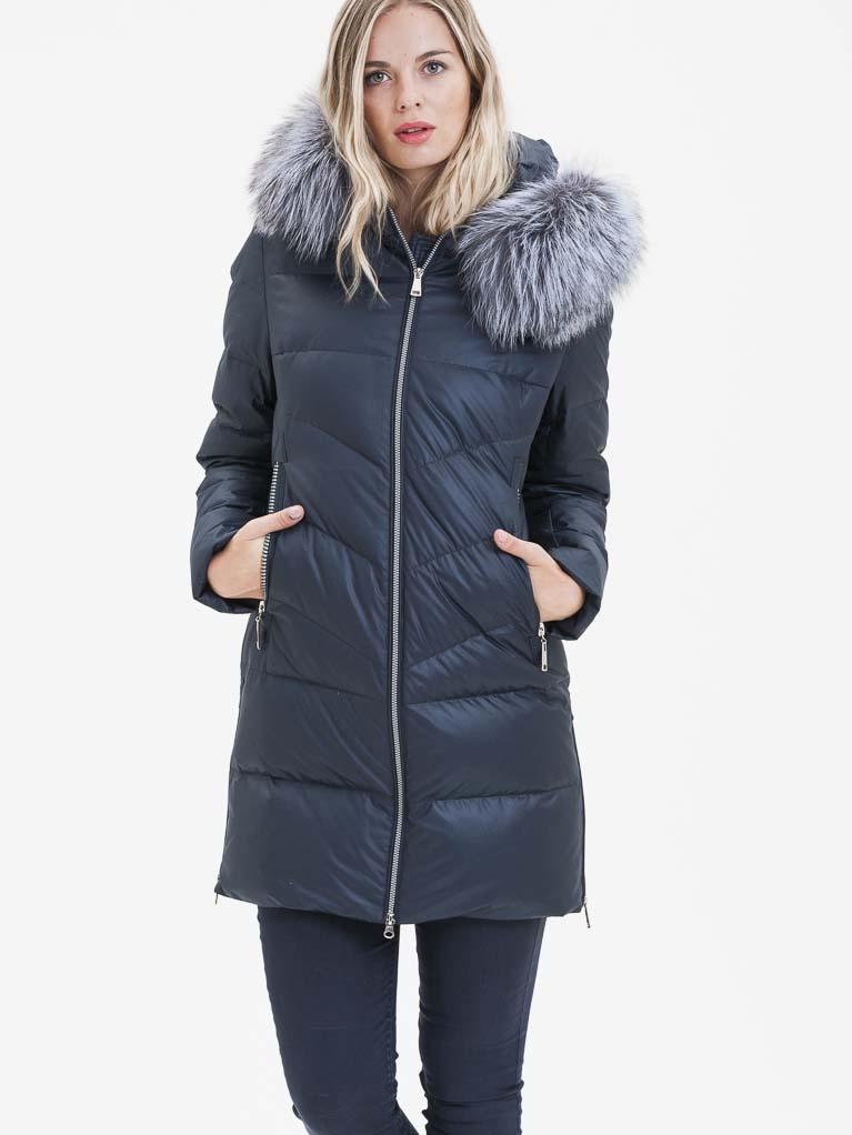 Tmavě modrý dámský kabát s pravou kožešinou KARA - M