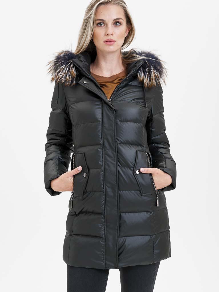 Černý dámský prošívaný kabát s pravou kožešinou KARA - XL