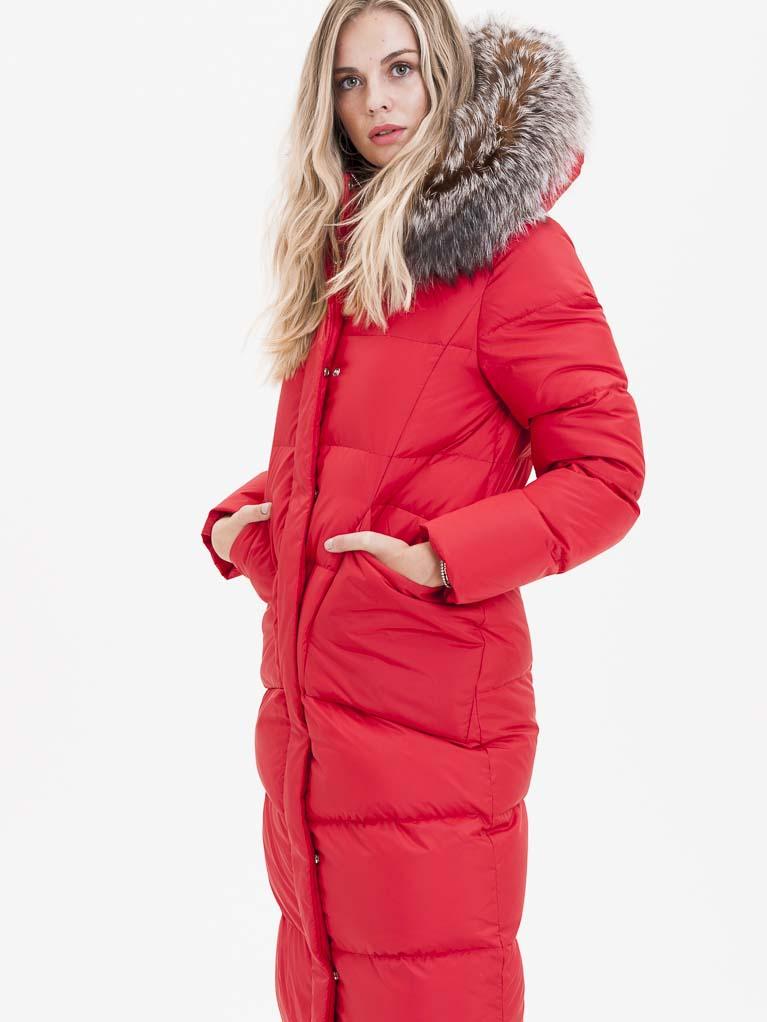 Červený dámský prošívaný kabát s pravou kožešinou KARA - M
