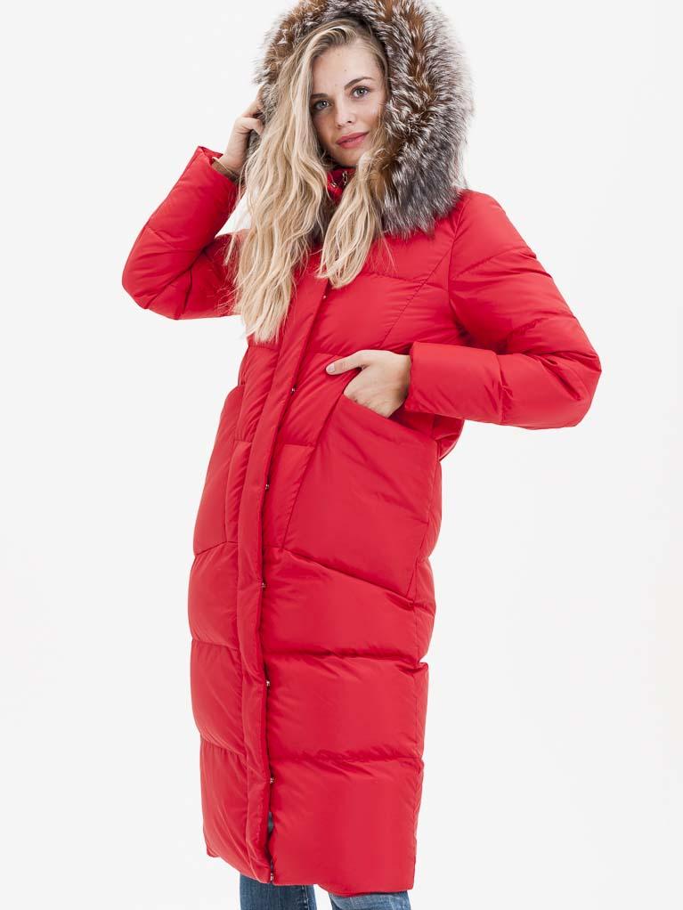 Červený dámský prošívaný kabát s pravou kožešinou KARA