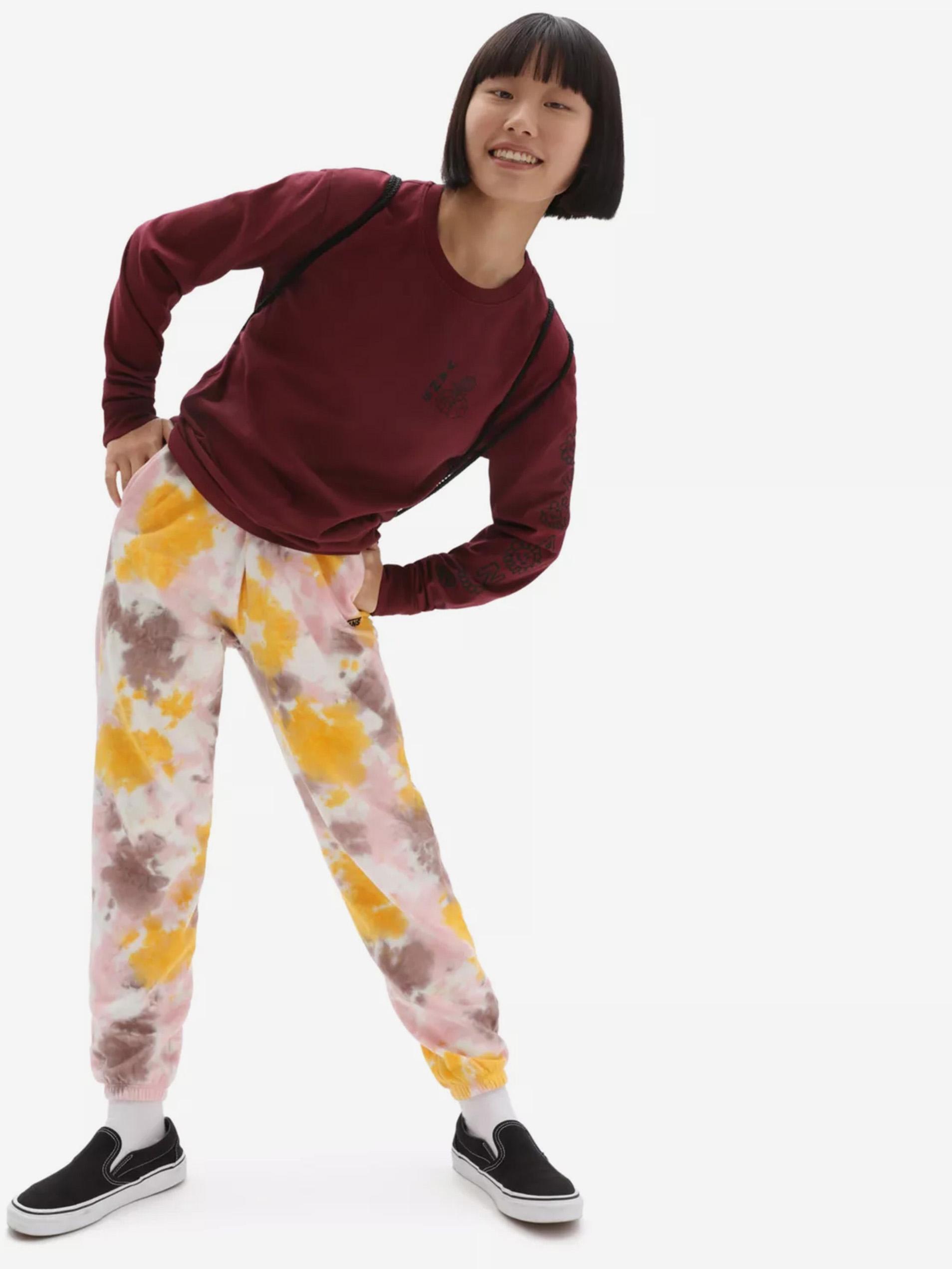 Žluto-růžové dámské batikované tepláky VANS Grunge