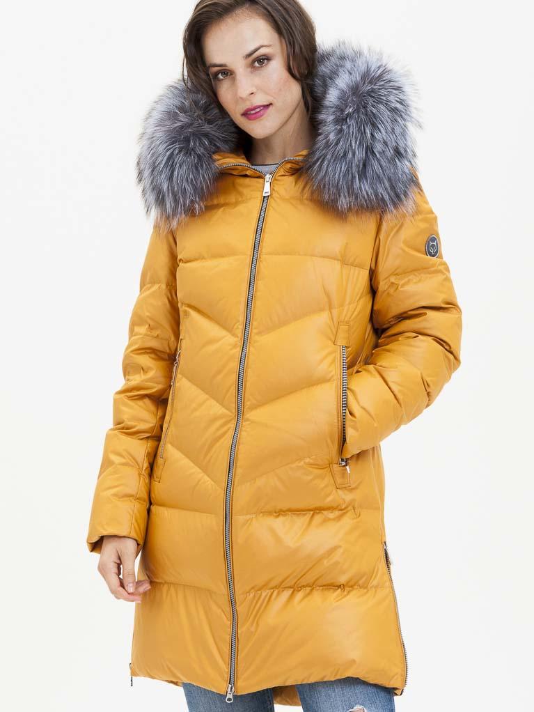 Žlutý dámský prošívaný kabát s pravou kožešinou KARA - S