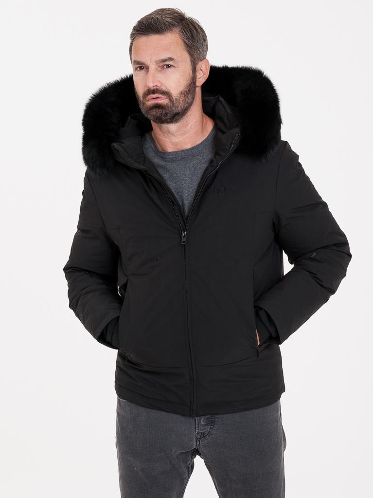 Černá pánská bunda s pravou kožešinou KARA - S