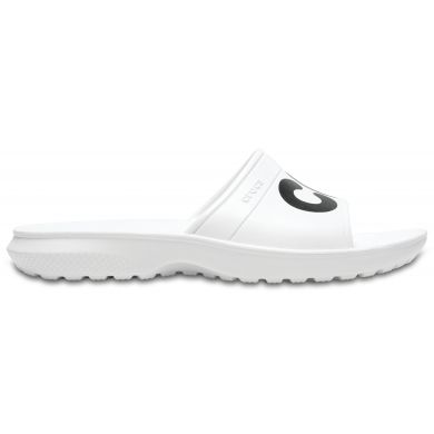 Crocs bílé pantofle Classic Graphic Slide White/Black