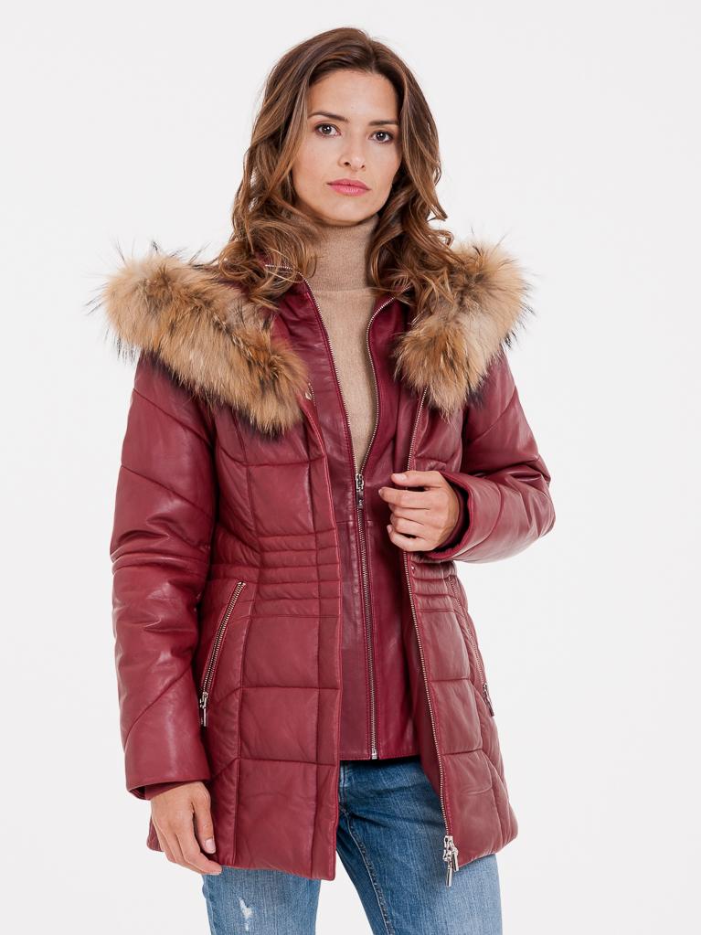 Červený dámský kožený kabát s pravou kožešinou KARA - S