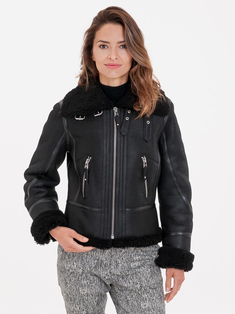 Černá dámská bunda s pravou kožešinou KARA - L