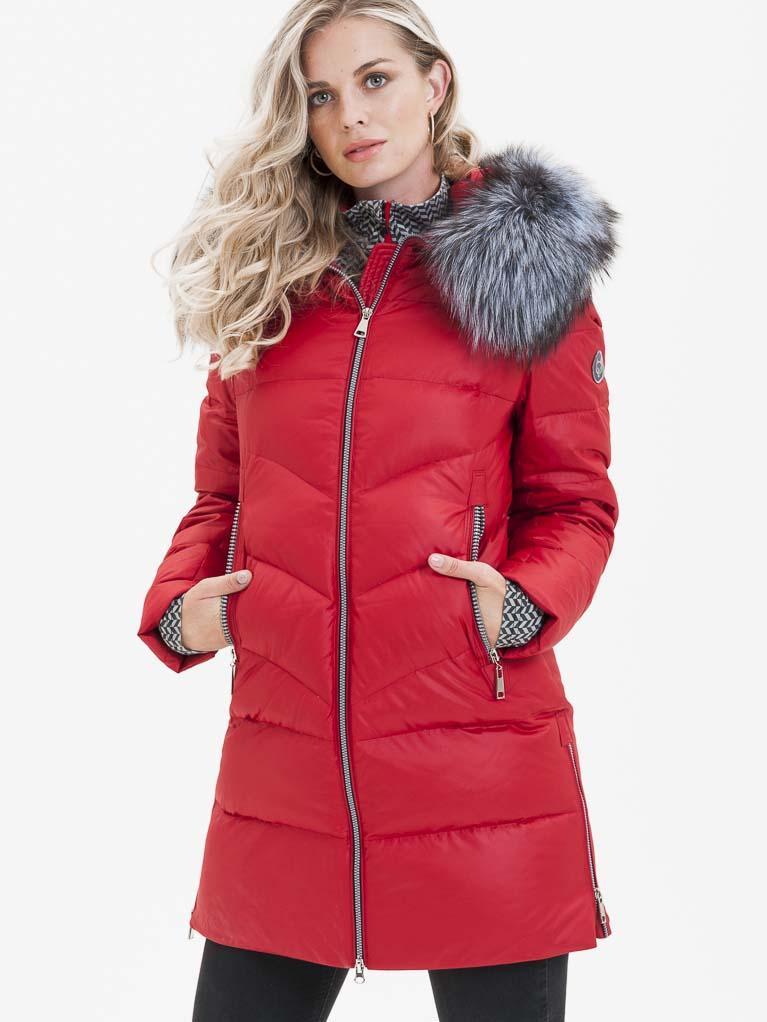 Červený dámský prošívaný kabát s pravou kožešinou KARA - S