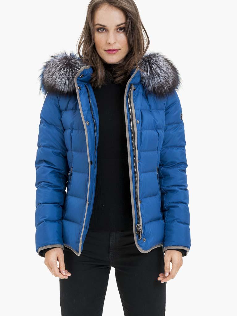 Modrá dámská prošívaná bunda s pravou kožešinou KARA - S