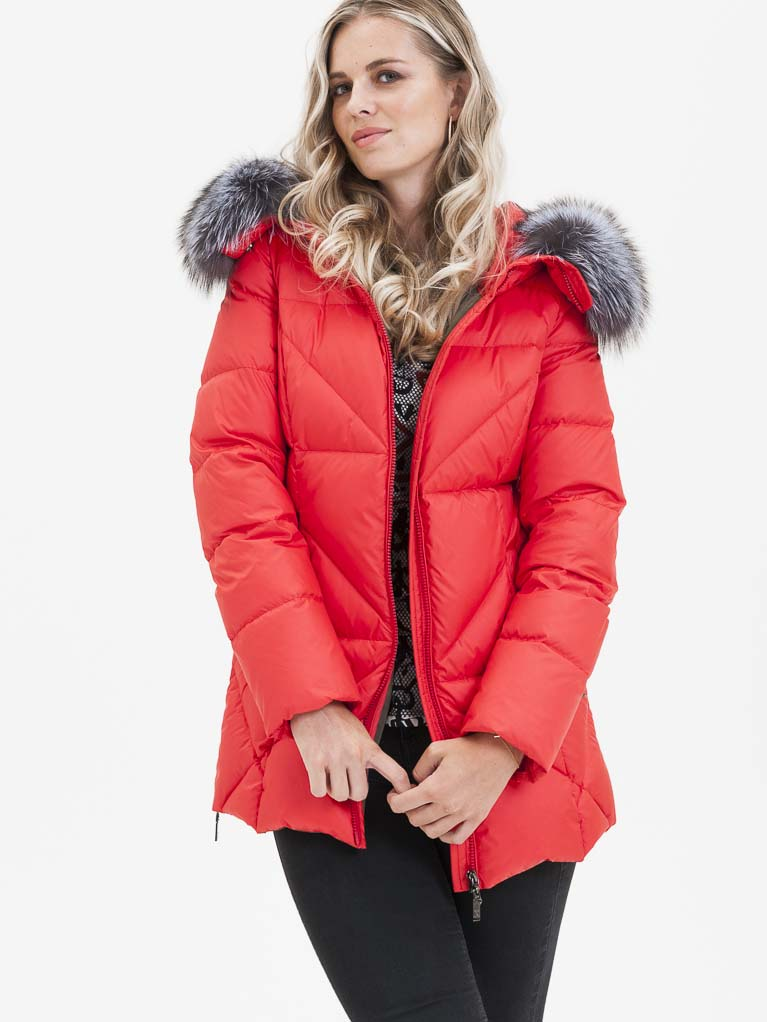Červená dámská prošívaná bunda s pravou kožešinou KARA - S