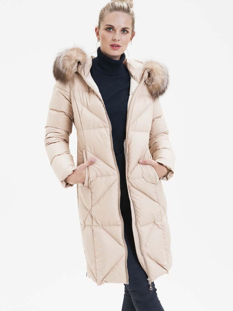 Krémový dámský prošívaný kabát s pravou kožešinou KARA - S