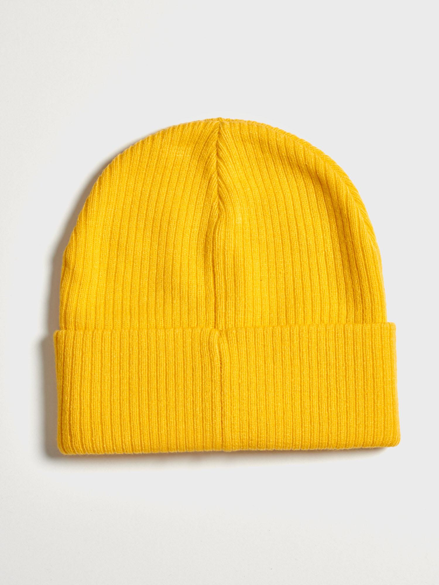 Doplňky - Dětská žebrovaná čepice Beanie Žlutá