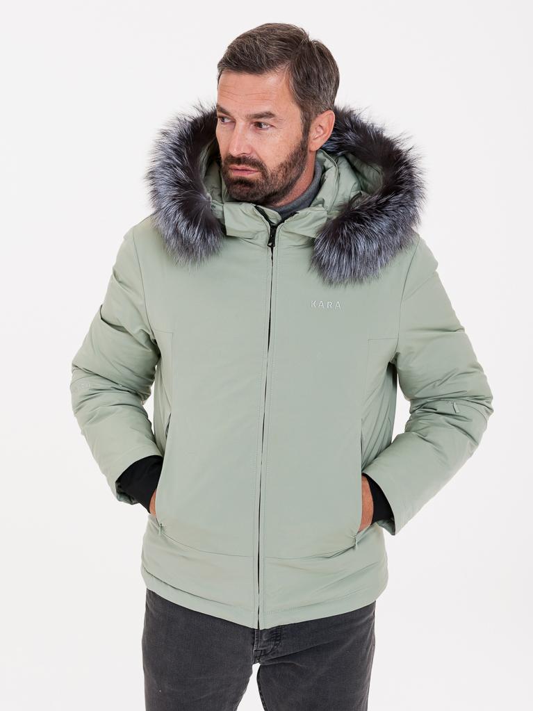 Světle zelená pánská bunda s pravou kožešinou KARA - S