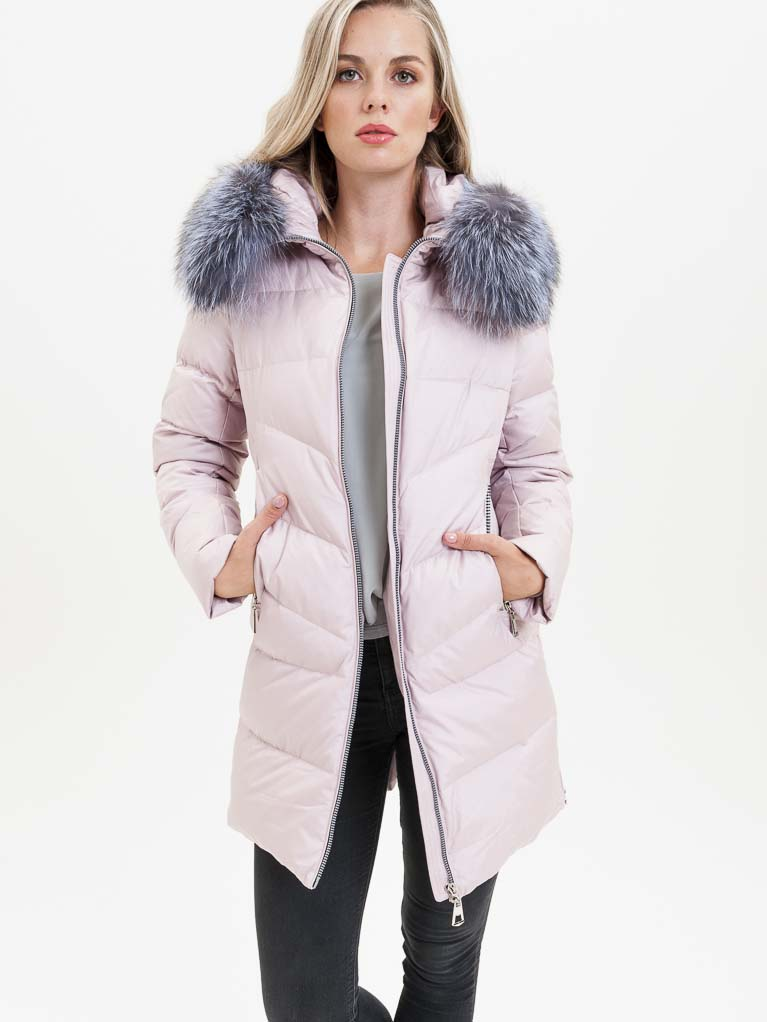 Světle růžový dámský kabát s pravou kožešinou KARA - S
