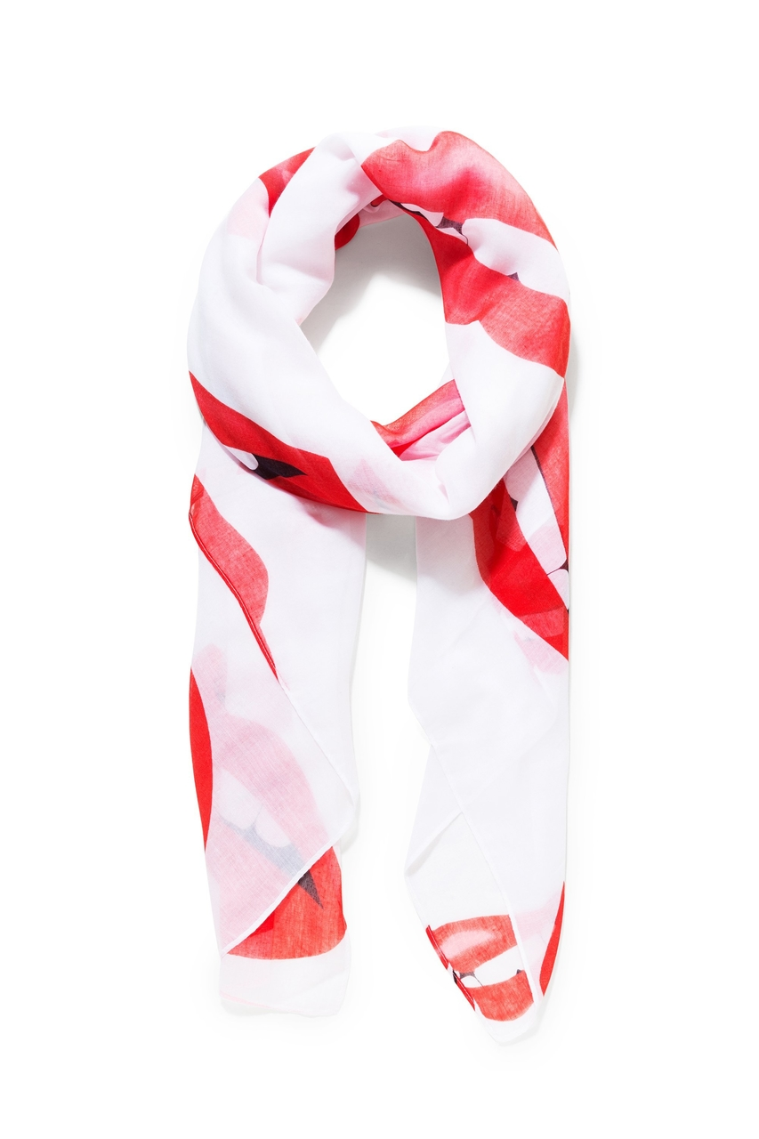0dca80a7f72 Desigual bílý šátek Lips Rectangle