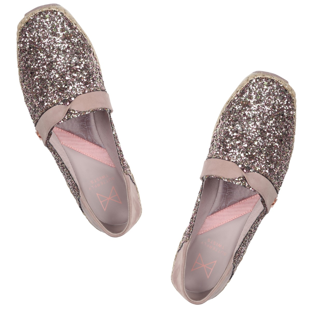 Butterfly Twists metalické boty Maya Rose Gold Glitter/Fawn Suede - 37