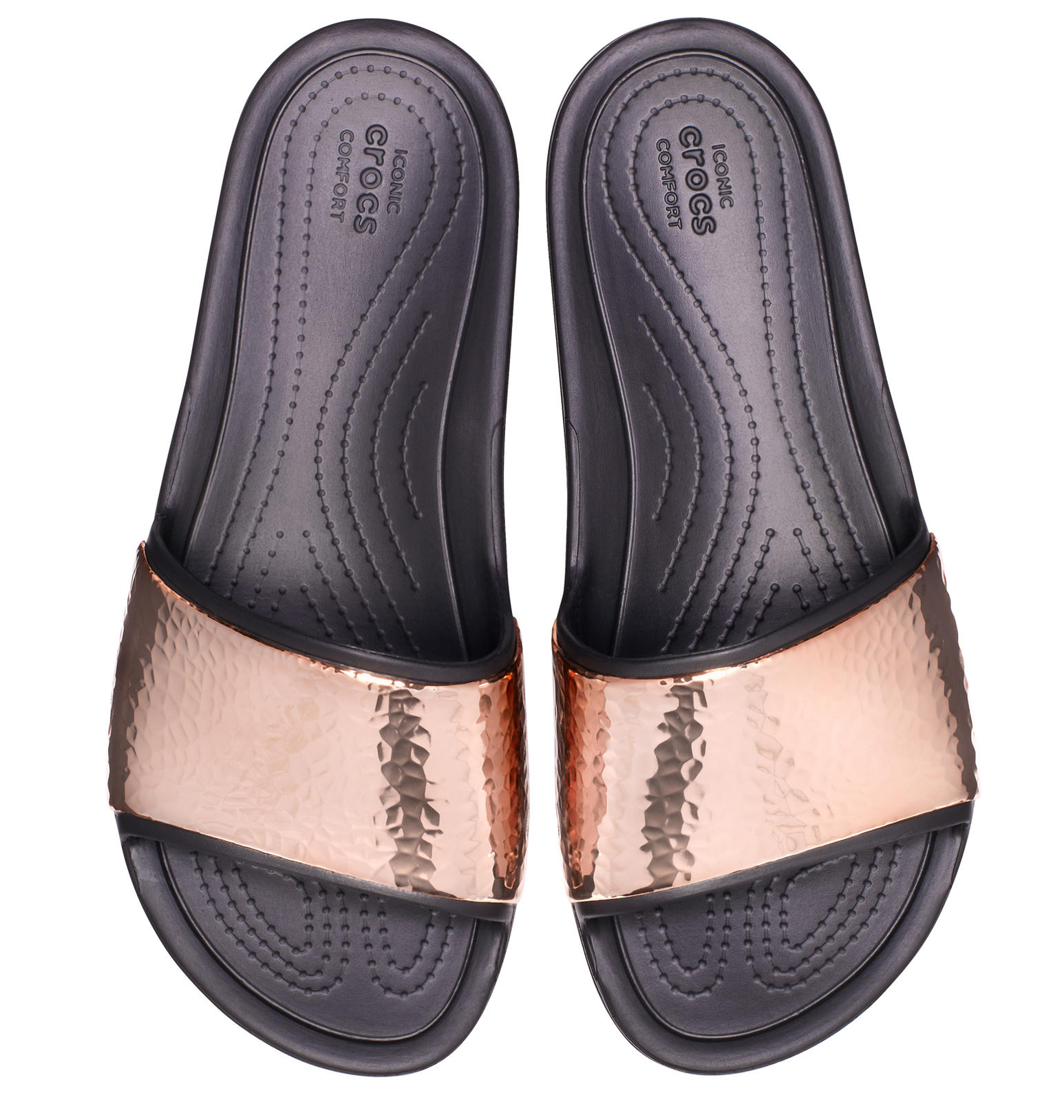 Crocs černé pantofle Sloane Hammered Met Slide Black/Rose Gold