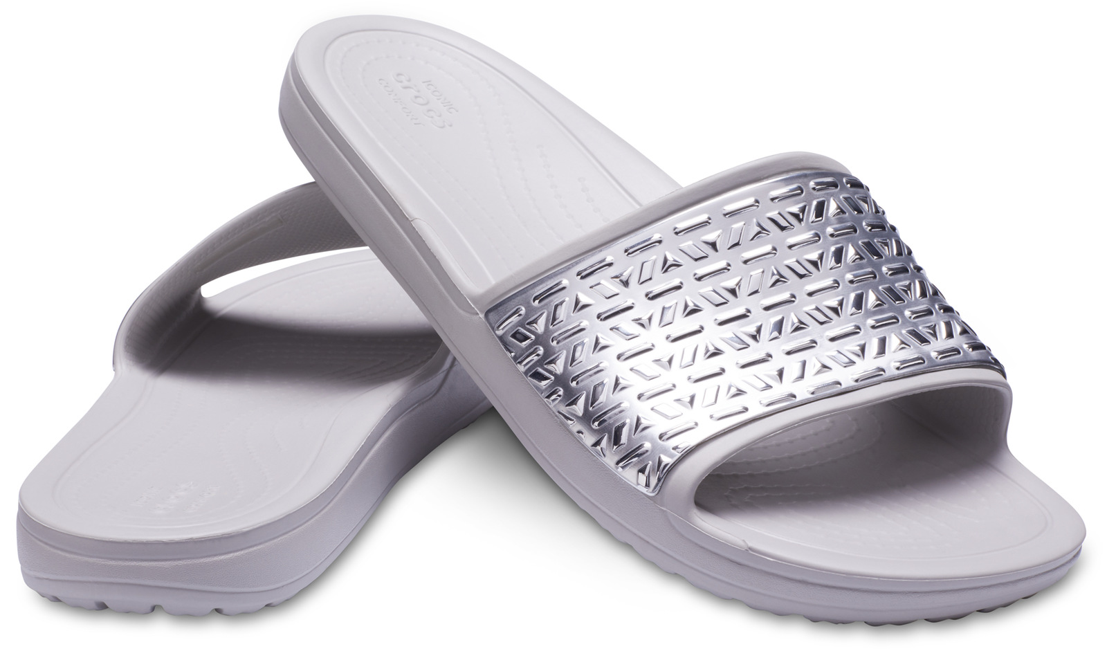 Crocs šedé pantofle Sloane Graphic Etched Slide Pearl White/Silver