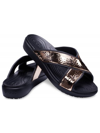34185dc230d Crocs černé pantofle Sloane Hammered XSTRP Slide Black Rose Gold